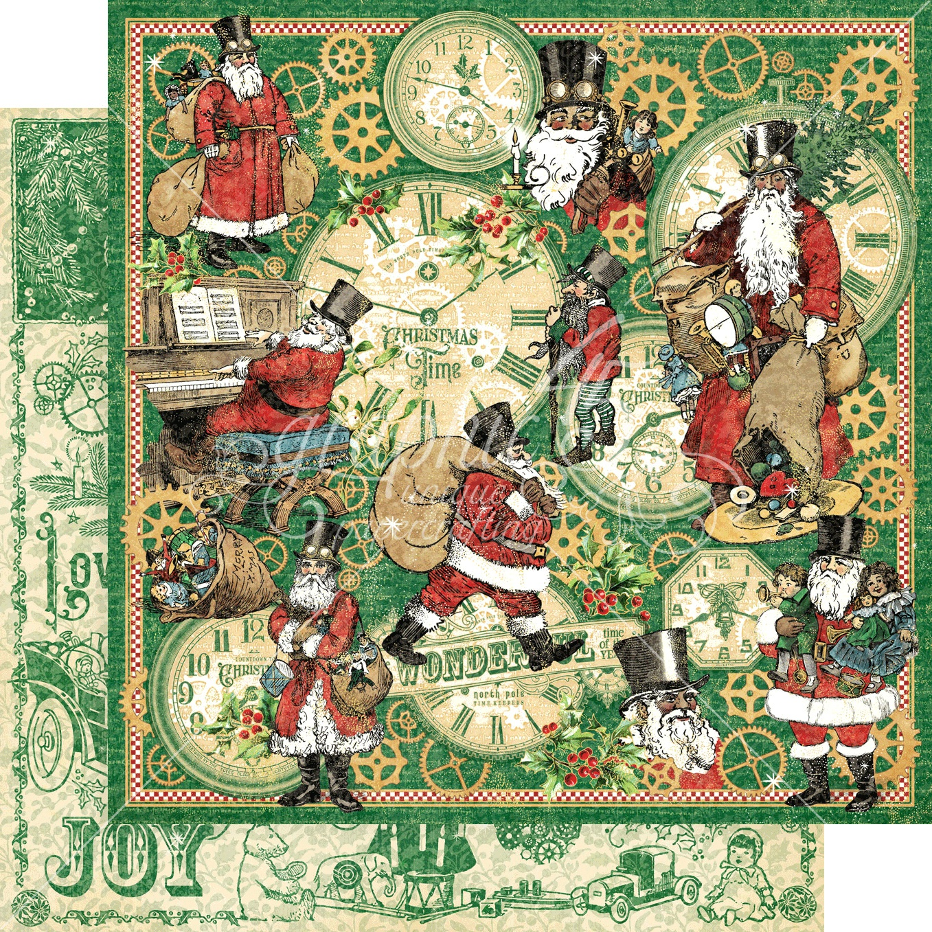 Christmas Time Double-Sided Cardstock 12X12-Here Comes Santa Clause