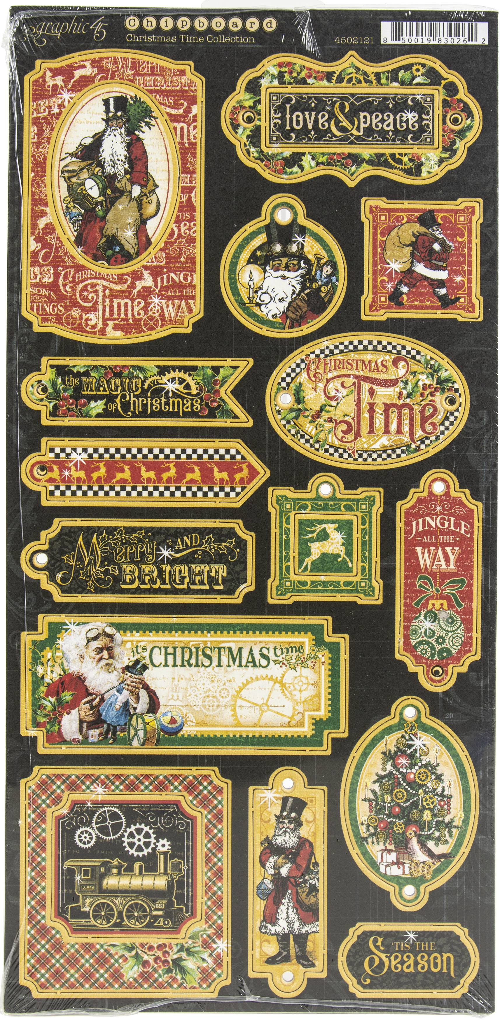 Christmas Time Chipboard Die-Cuts 6X12 Sheet-