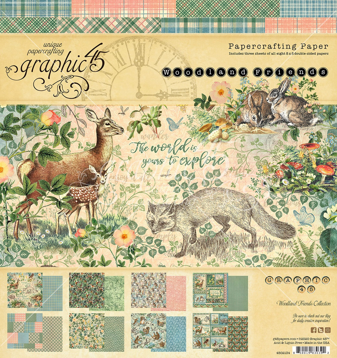 Graphic 45 Double-Sided Paper Pad 8X8 24/Pkg-Woodland Friends