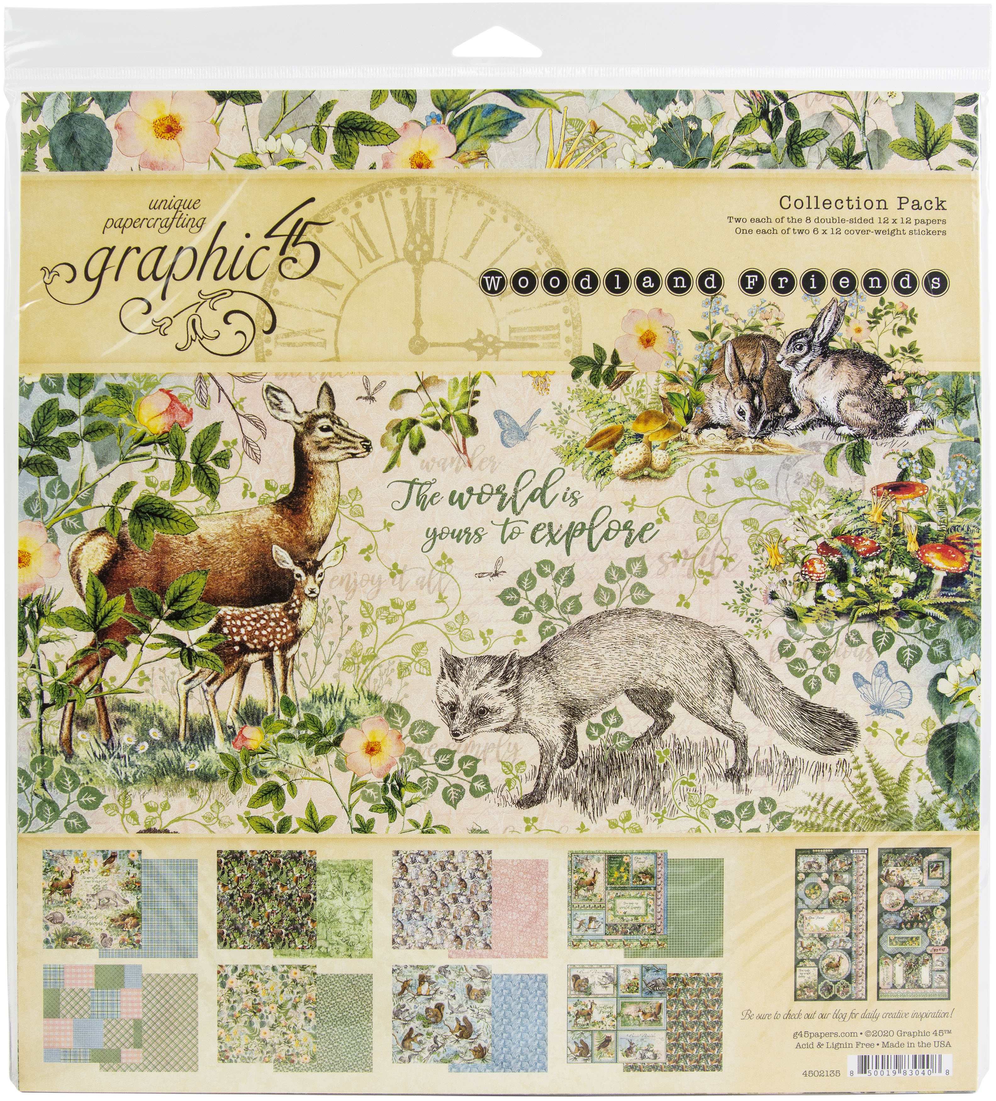 Graphic 45 Collection Pack 12X12-Woodland Friends