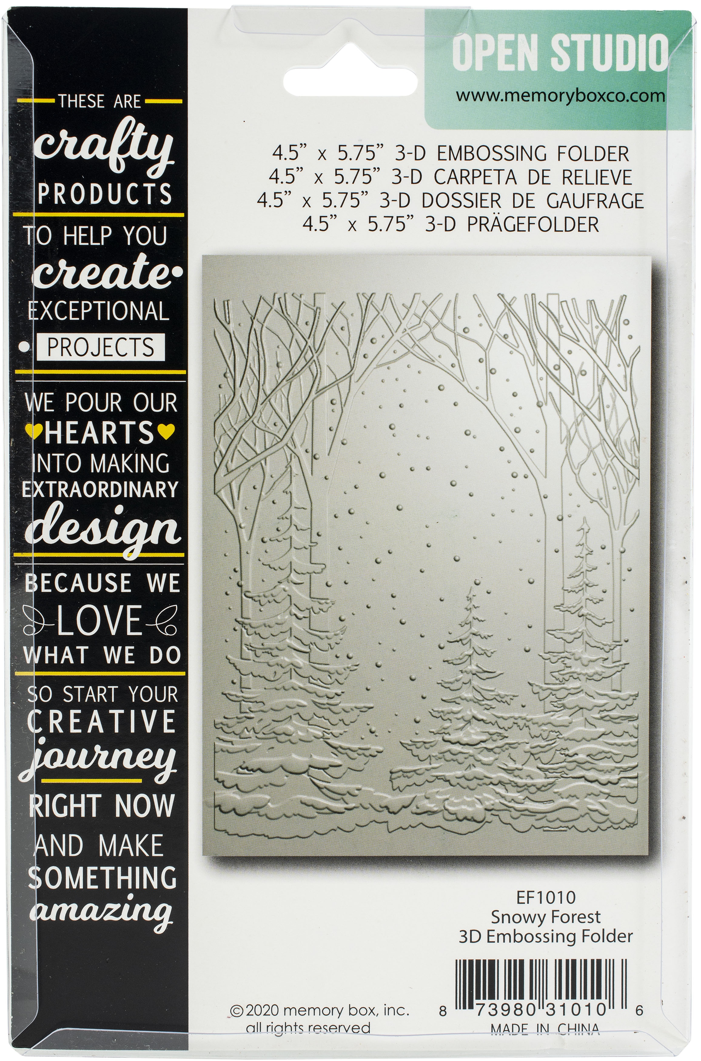 Memory Box 3D Embossing Folder 4.5X5.75-Snowy Forest