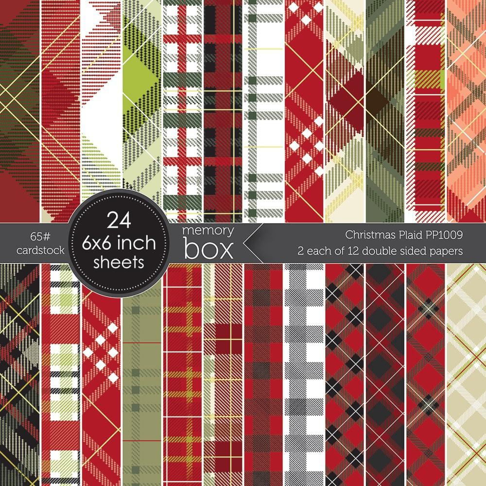 Memory Box Paper Pad 6X6 24/Pkg-Christmas Plaid W/Foil