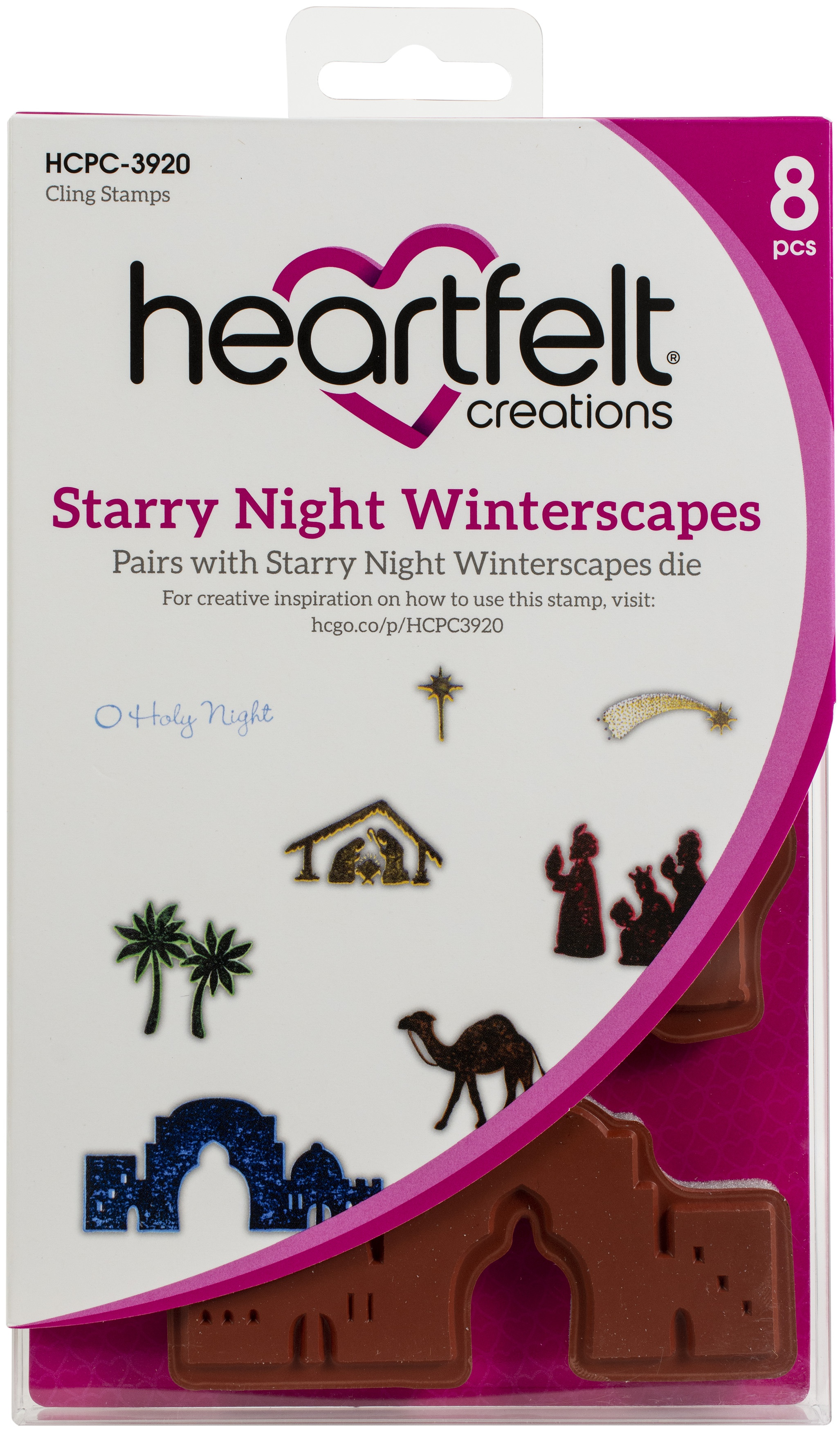 Heartfelt Creations Cling Rubber Stamp Set-Starry Night Winterscapes