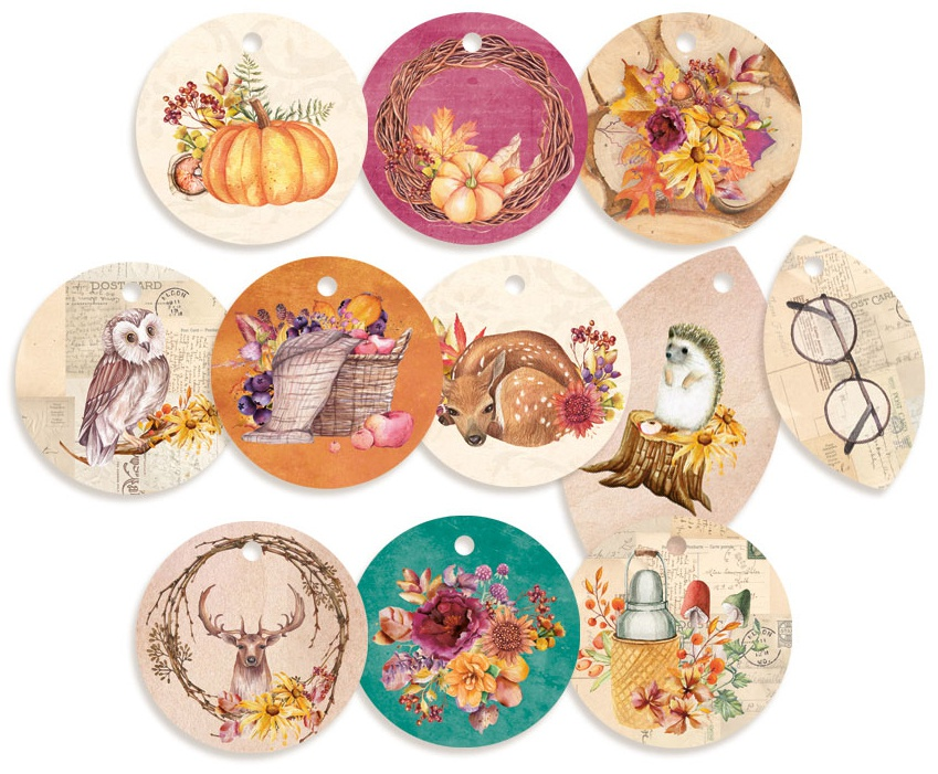 P13 The Four Seasons Autumn - Double-Sided Cardstock Tags, Set 01