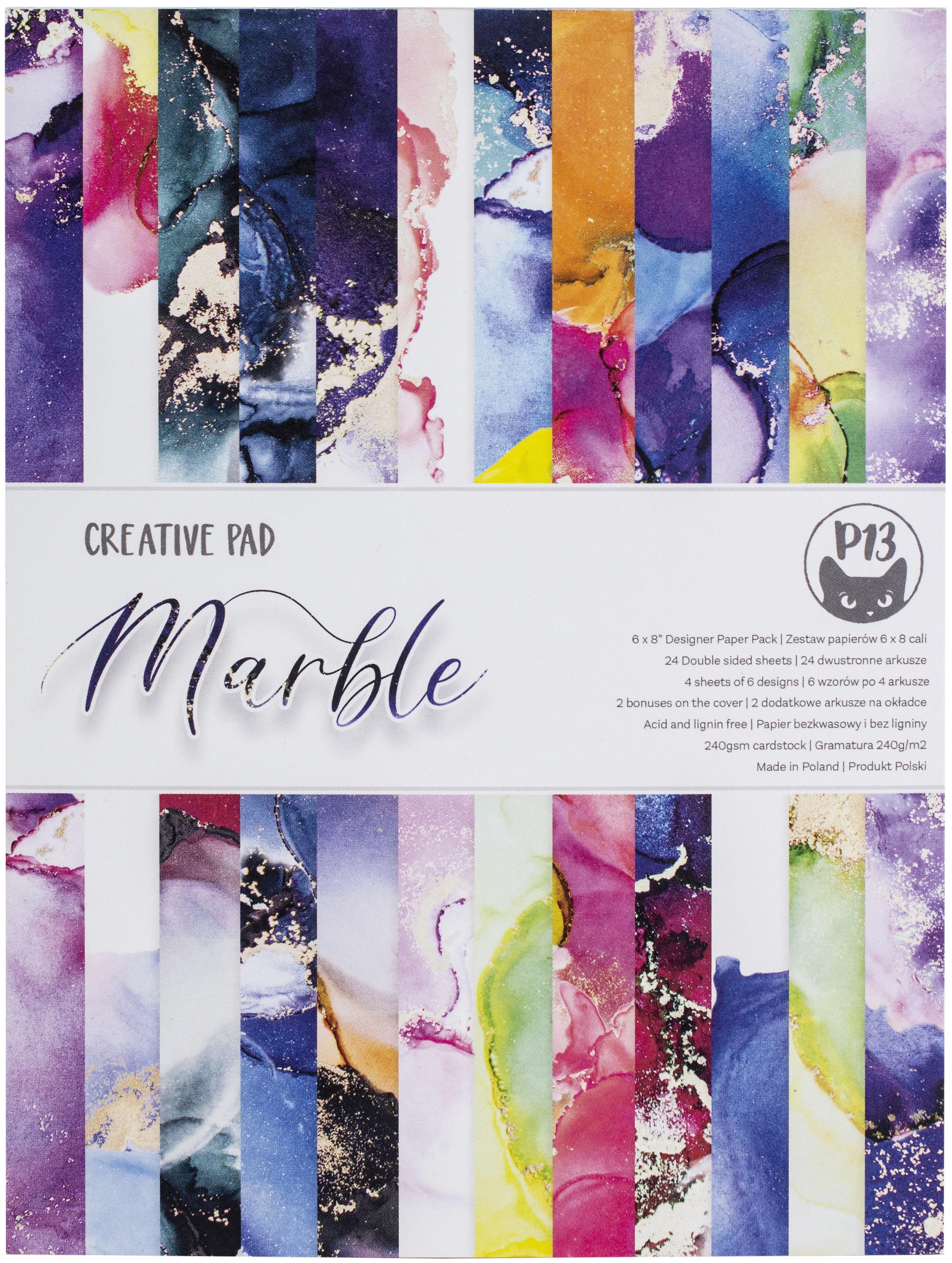 P13 Creative Paper Pad 6X8 24/Pkg-Marble
