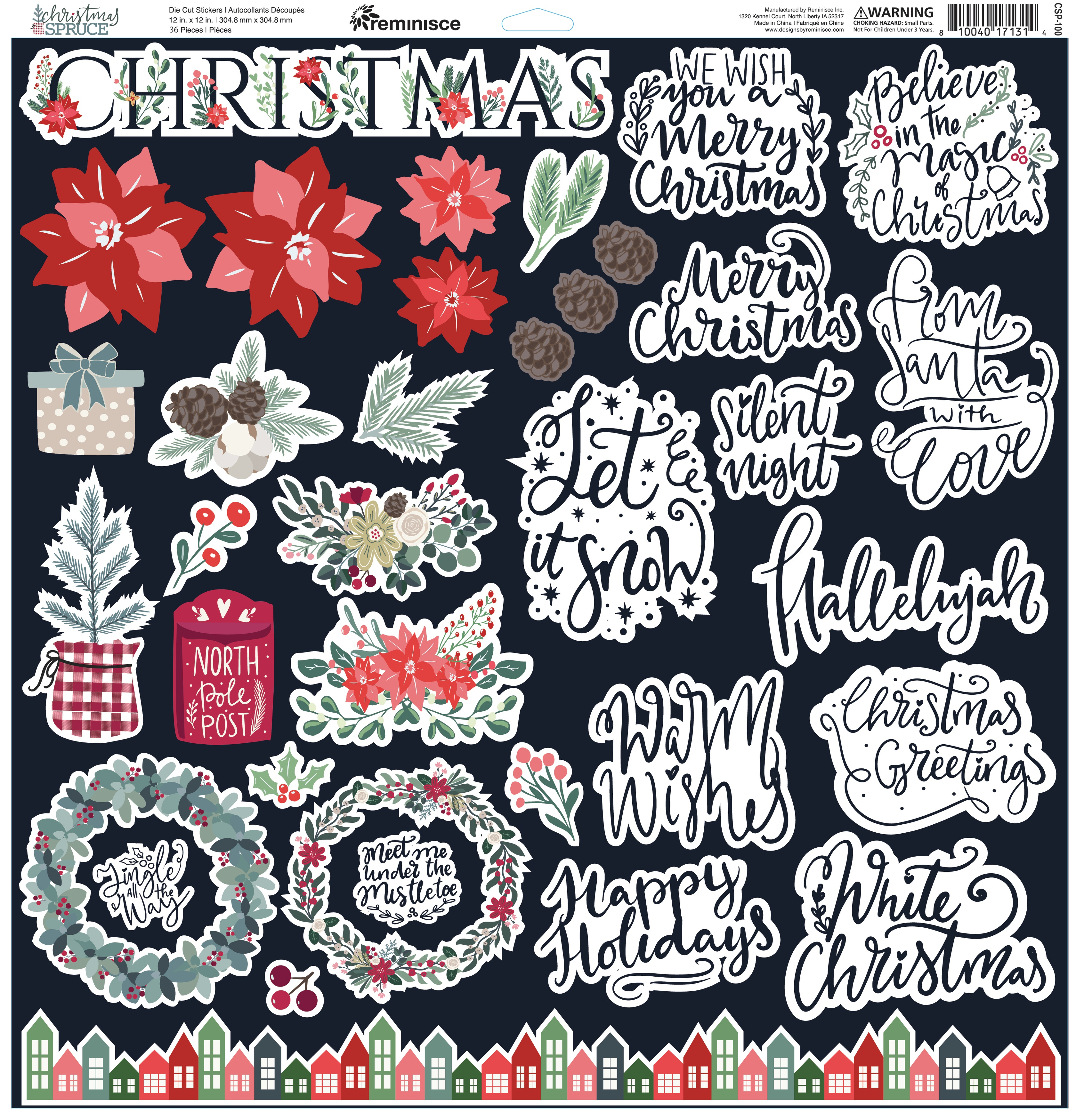 Christmas Spruce Custom Cardstock Stickers 12X12