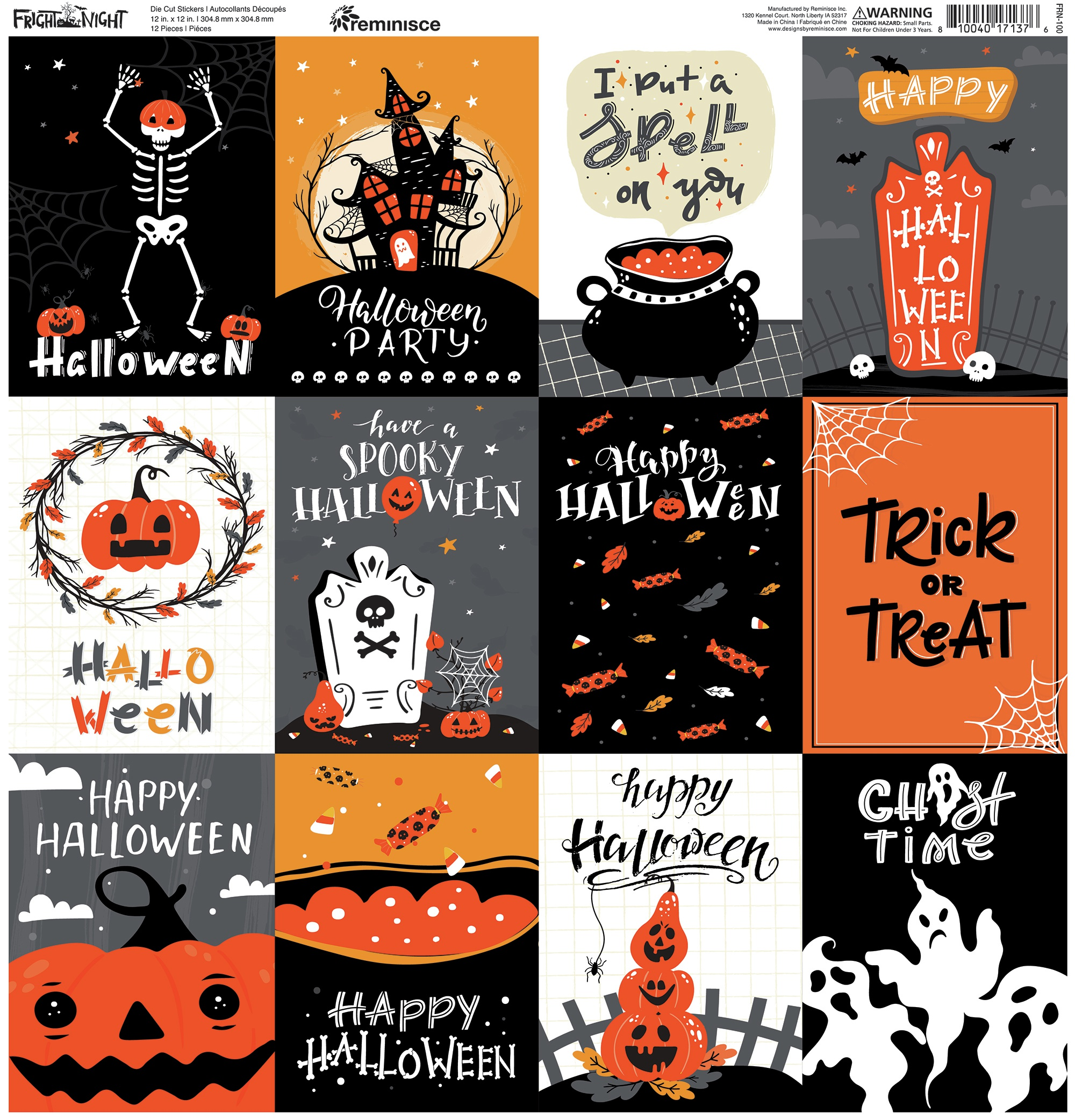 Reminisce Square Cardstock Stickers 12X12-Fright Night