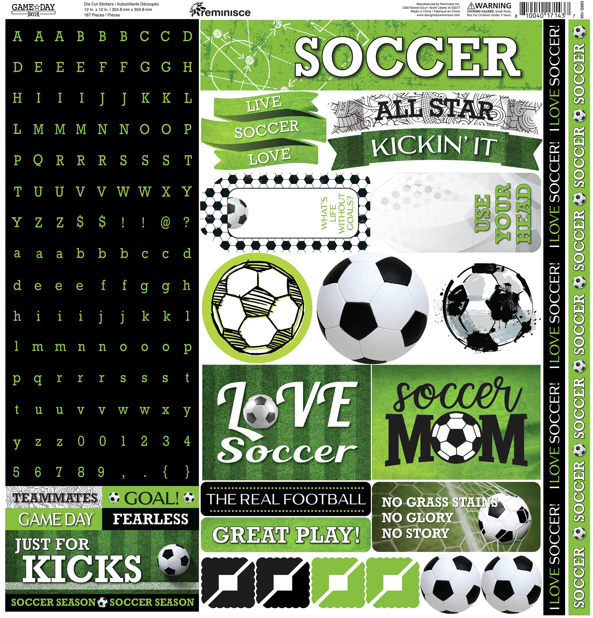 Reminisce Alpha Cardstock Stickers 12X12-Game Day Soccer