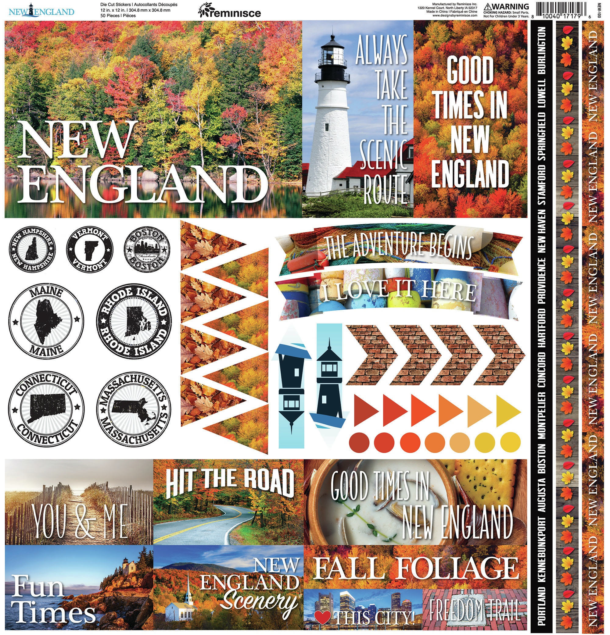Reminisce Elements Cardstock Stickers 12X12-New England