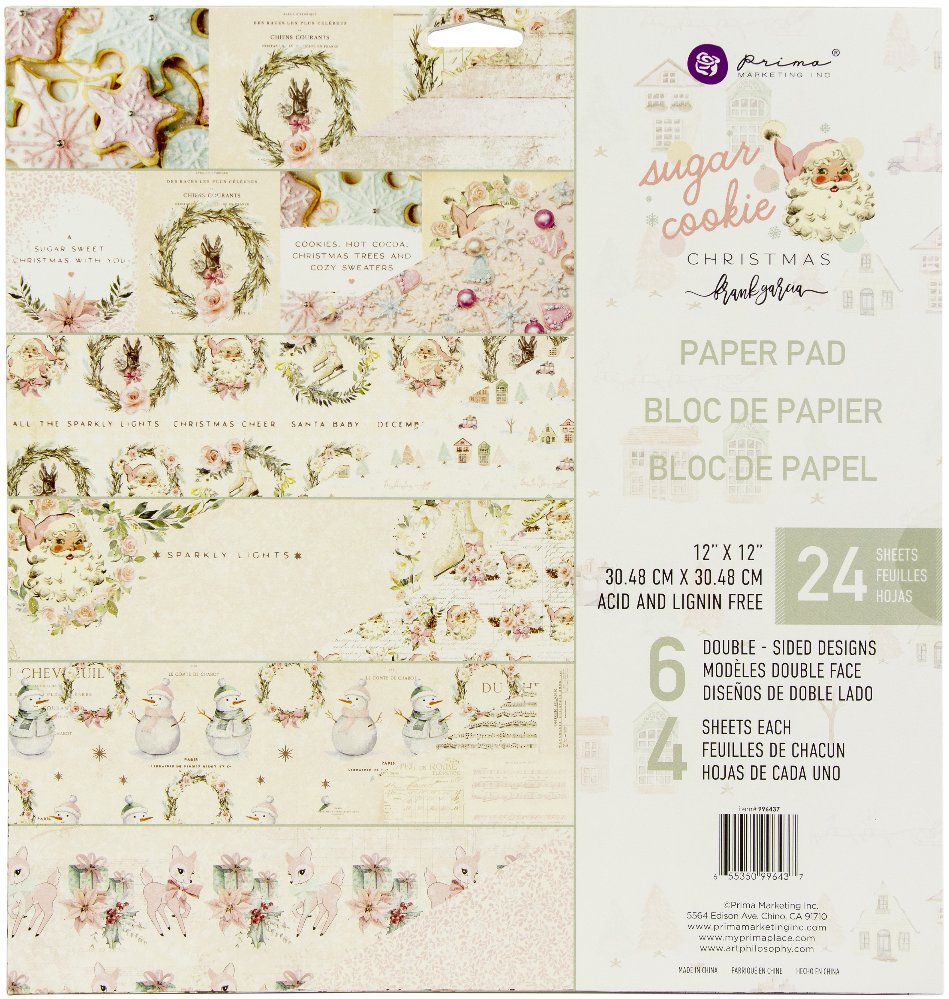 Prima Marketing Double-Sided Paper Pad 12x12 24/Pkg - Sugar Cookie