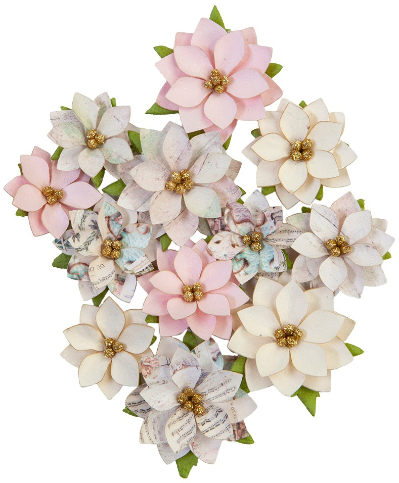 Prima Marketing Mulberry Paper Flowers-Glittery Snow/Sugar Cookie