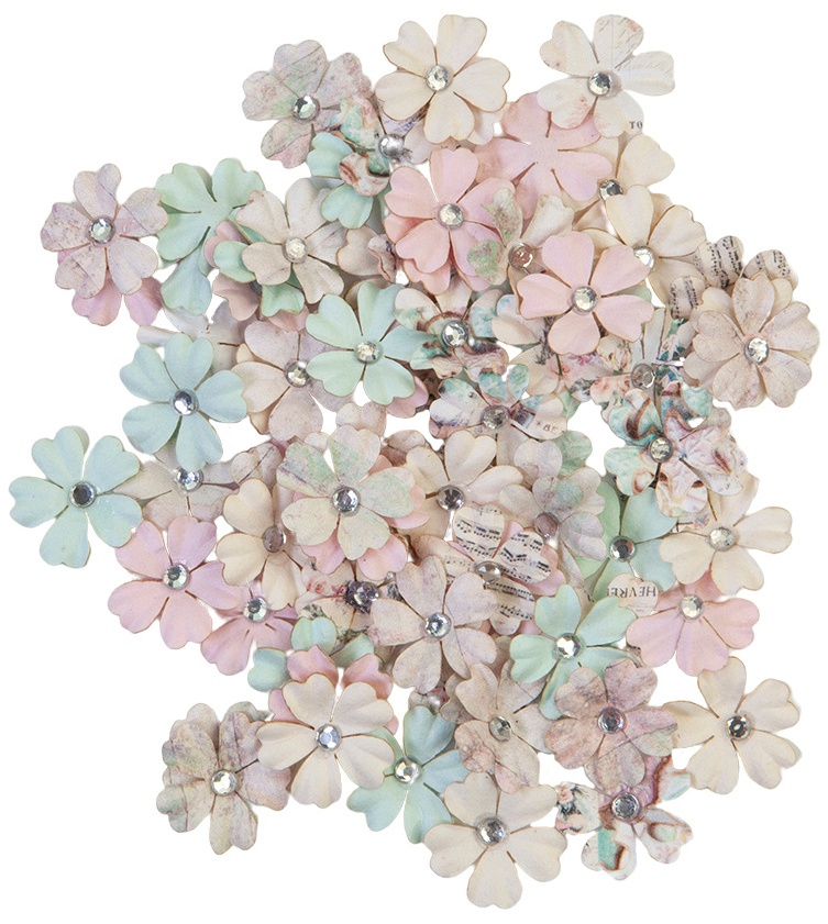 Prima Marketing Mulberry Paper Flowers-White Christmas/Sugar Cookie
