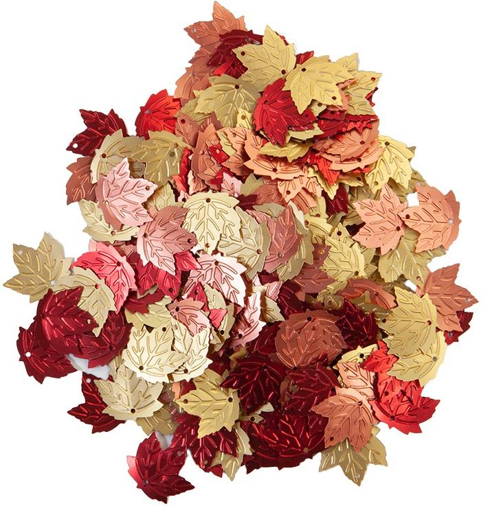 Pumpkin & Spice Glitter Sequins-Leaves, 3 Matte Metallic Colors