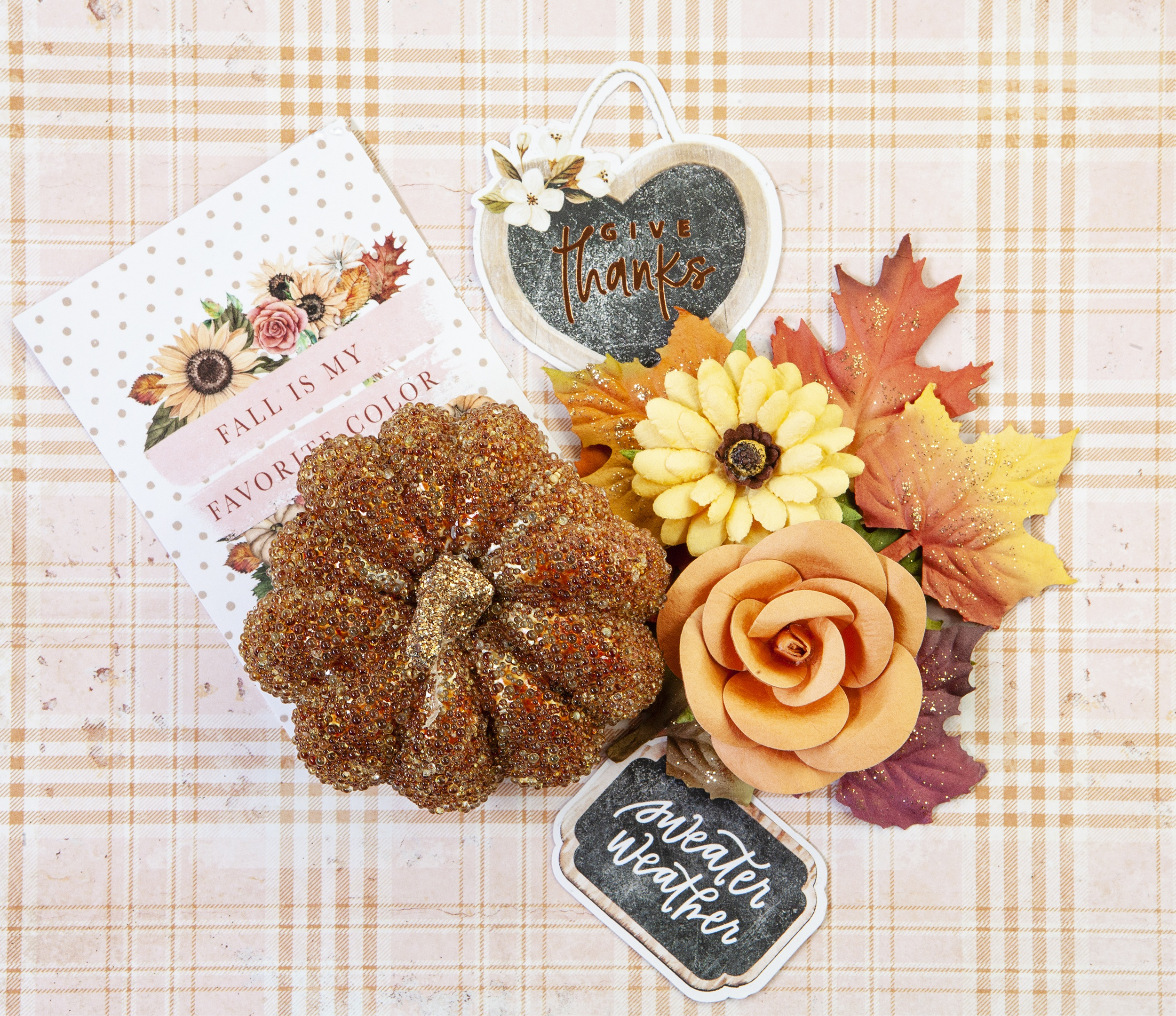 Prima Marketing Mulberry Paper Flowers-Fall Leaves/Pumpkin & Spice