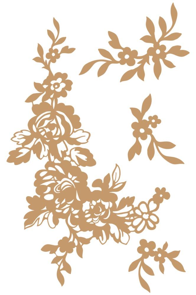 Prima Marketing Laser Cut Chipboard-Beautiful Fleur, 4/Pkg