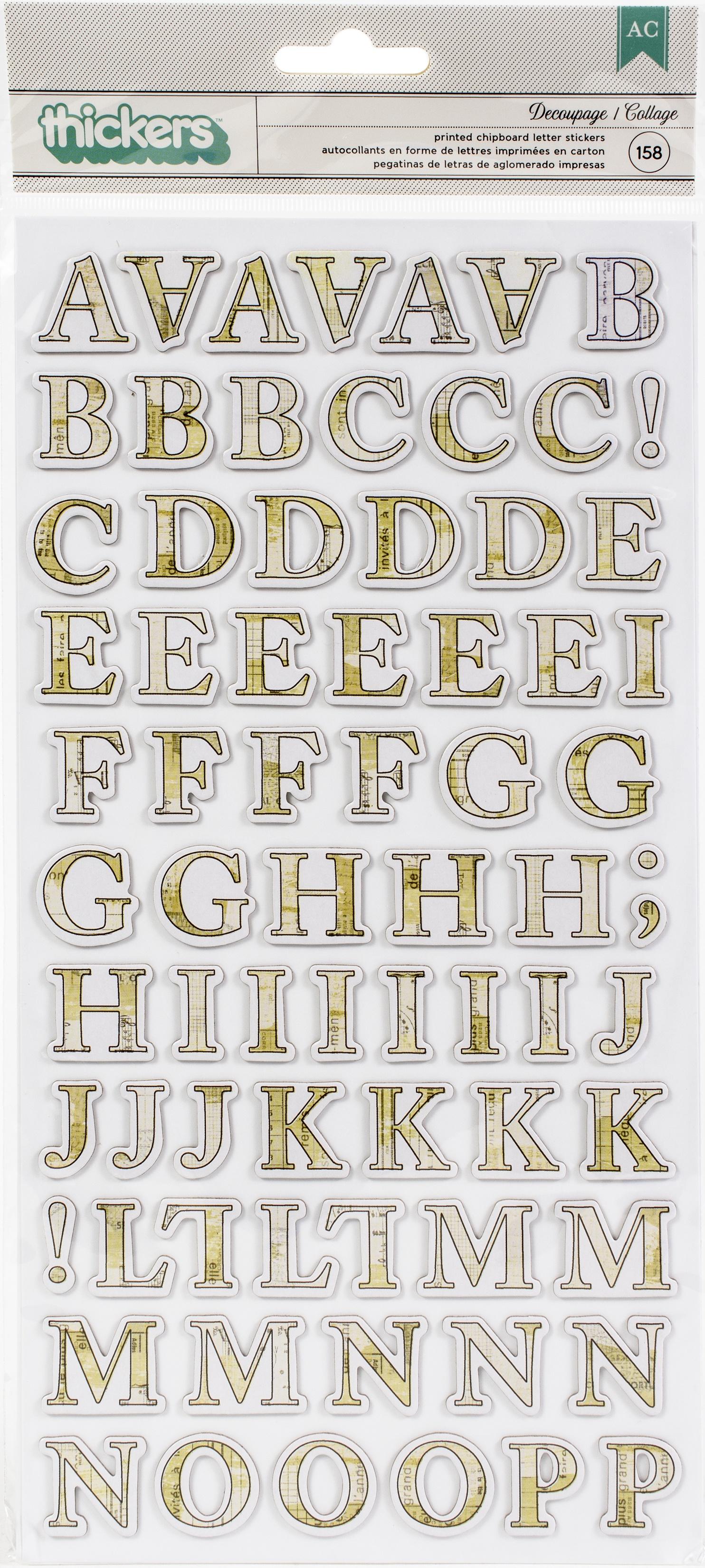 Vicki Boutin Storyteller Thickers Stickers 158/Pkg-Decoupage Alpha/Chipboard