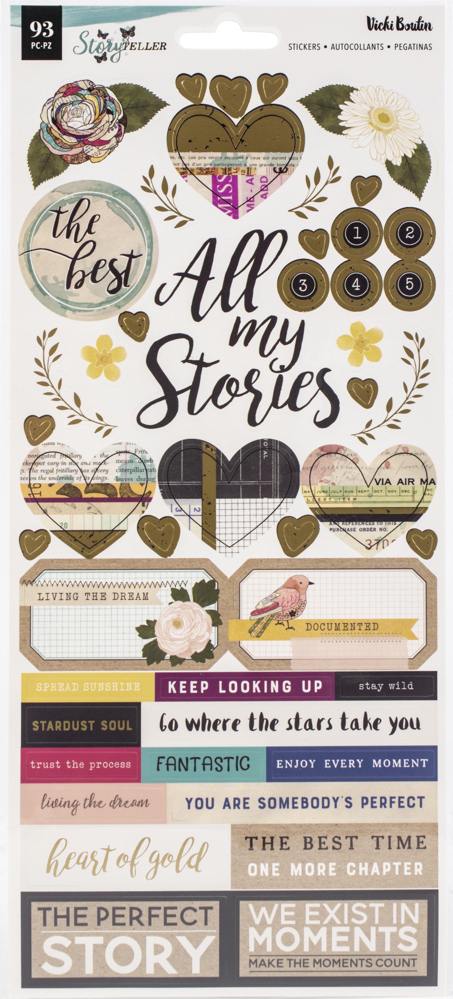 Vicki Boutin Storyteller Cardstock Stickers 6X12 93/Pkg-Accents & Phrases