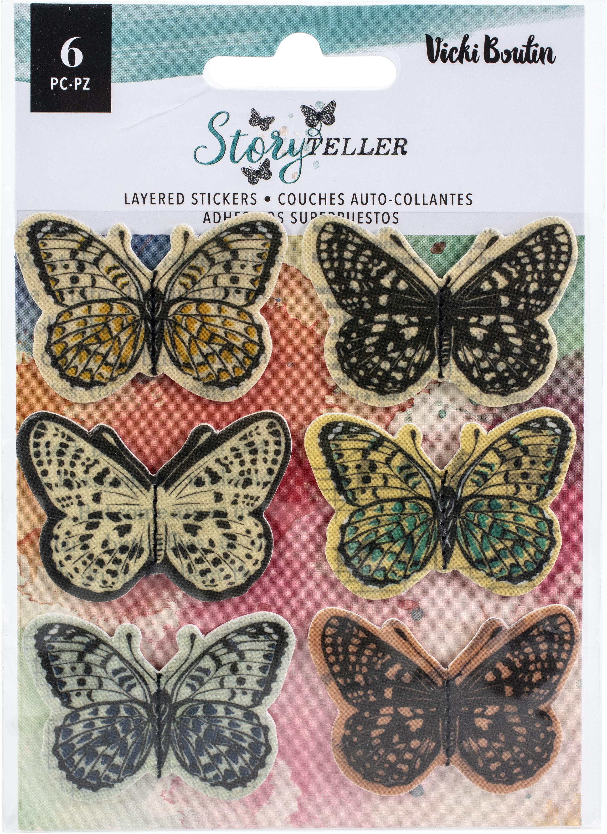 Vicki Boutin Storyteller Layered Stickers 6/Pkg-Vellum Butterflies