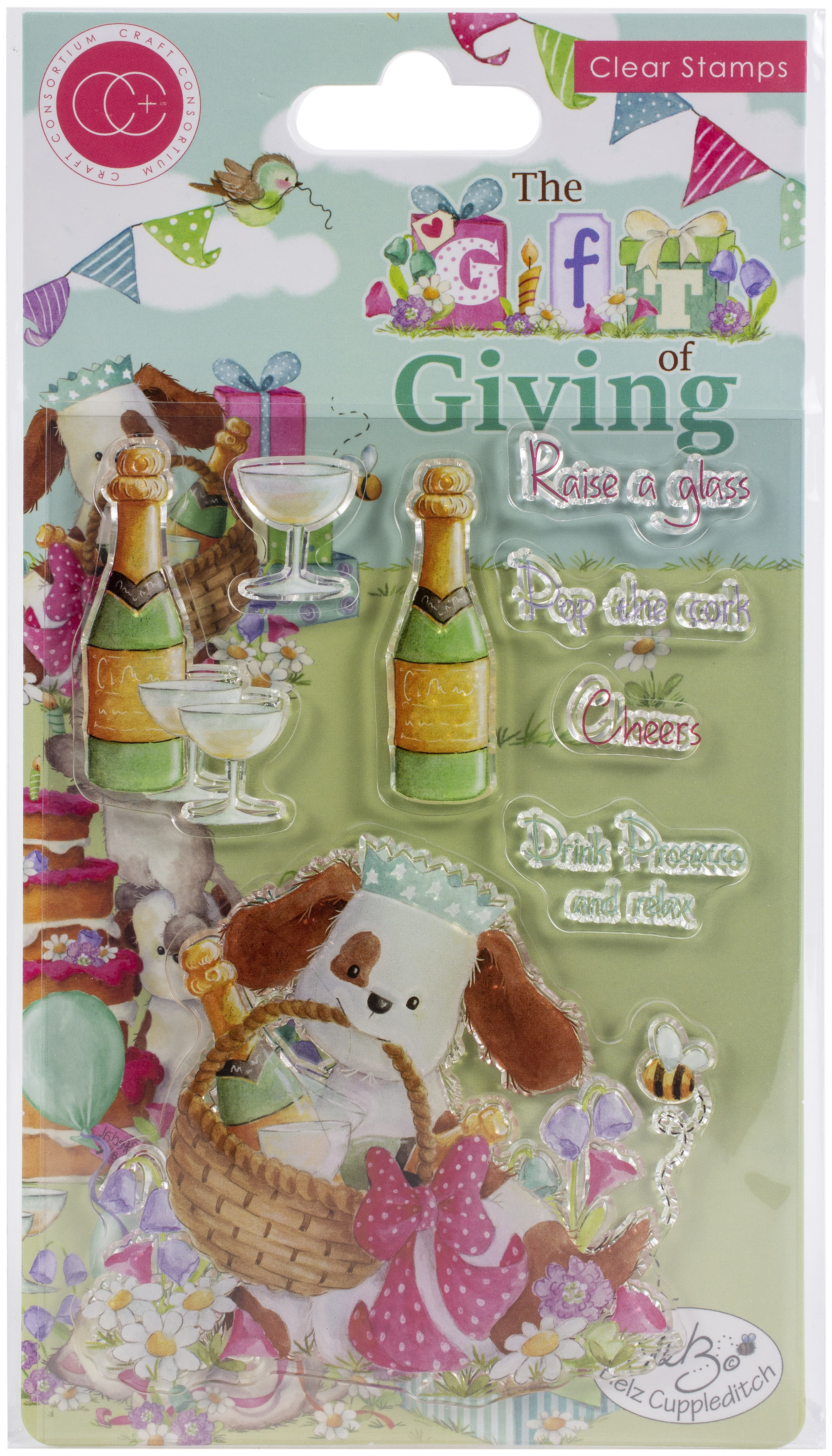 Craft Consortium A5 Clear Stamps-Pop The Cork, The Gift Of Giving