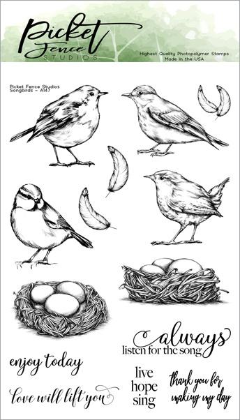 Picket Fence Studios 4X6 Stamp Set-Songbirds