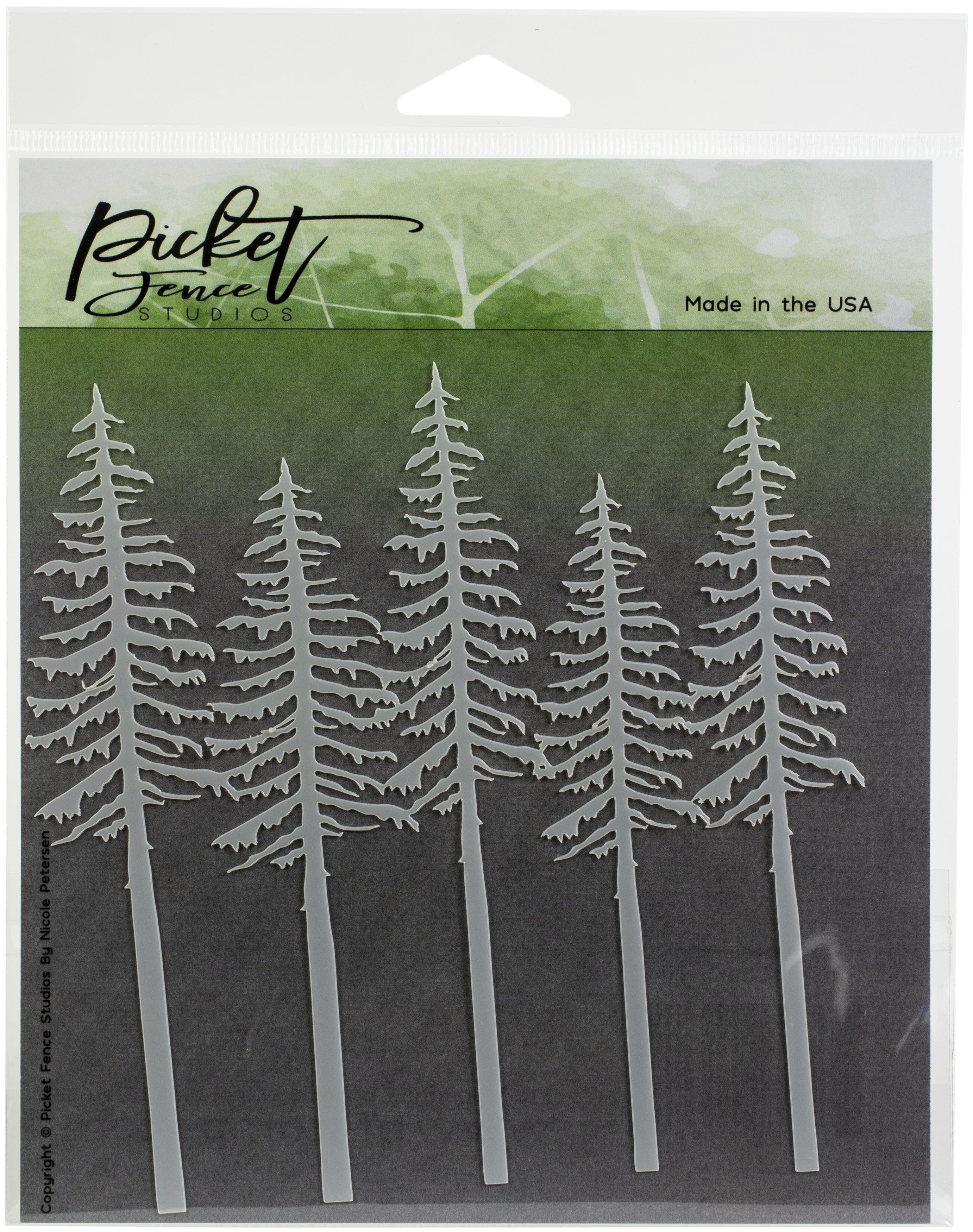 Picket Fence Studios Stencil 6X6-Evergreens