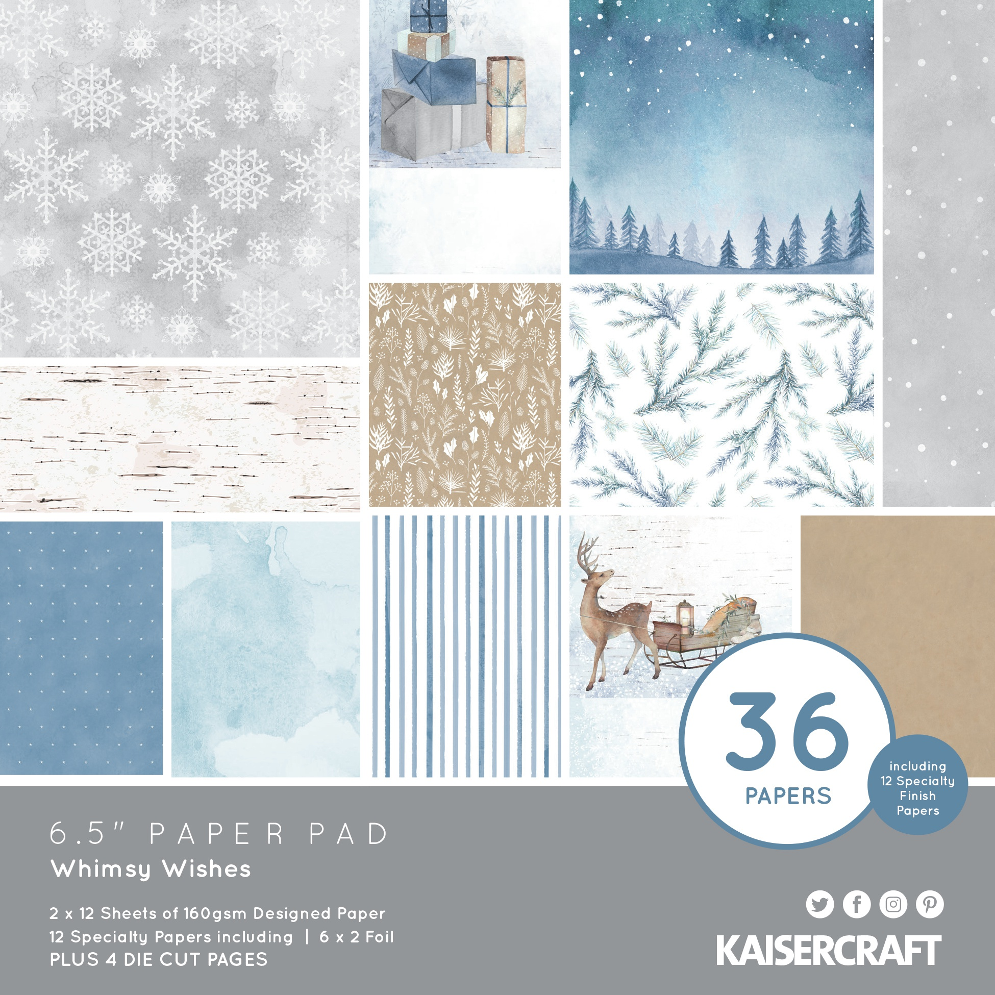 Kaisercraft Paper Pad 6.5X6.5 40/Pkg-Whimsy Wishes