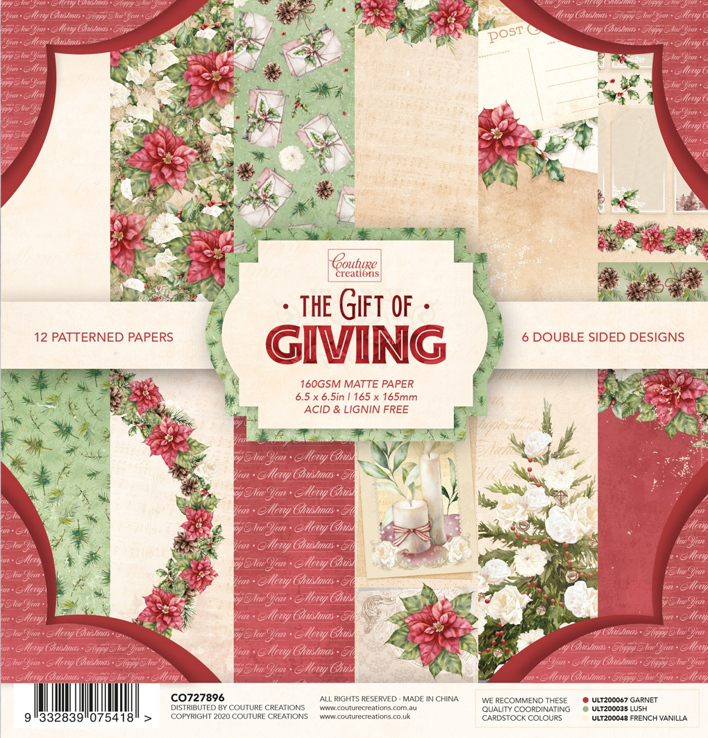 Couture Creations Double-Sided Paper Pad 6.5X6.5 24/Pkg-The Gift Of Giving