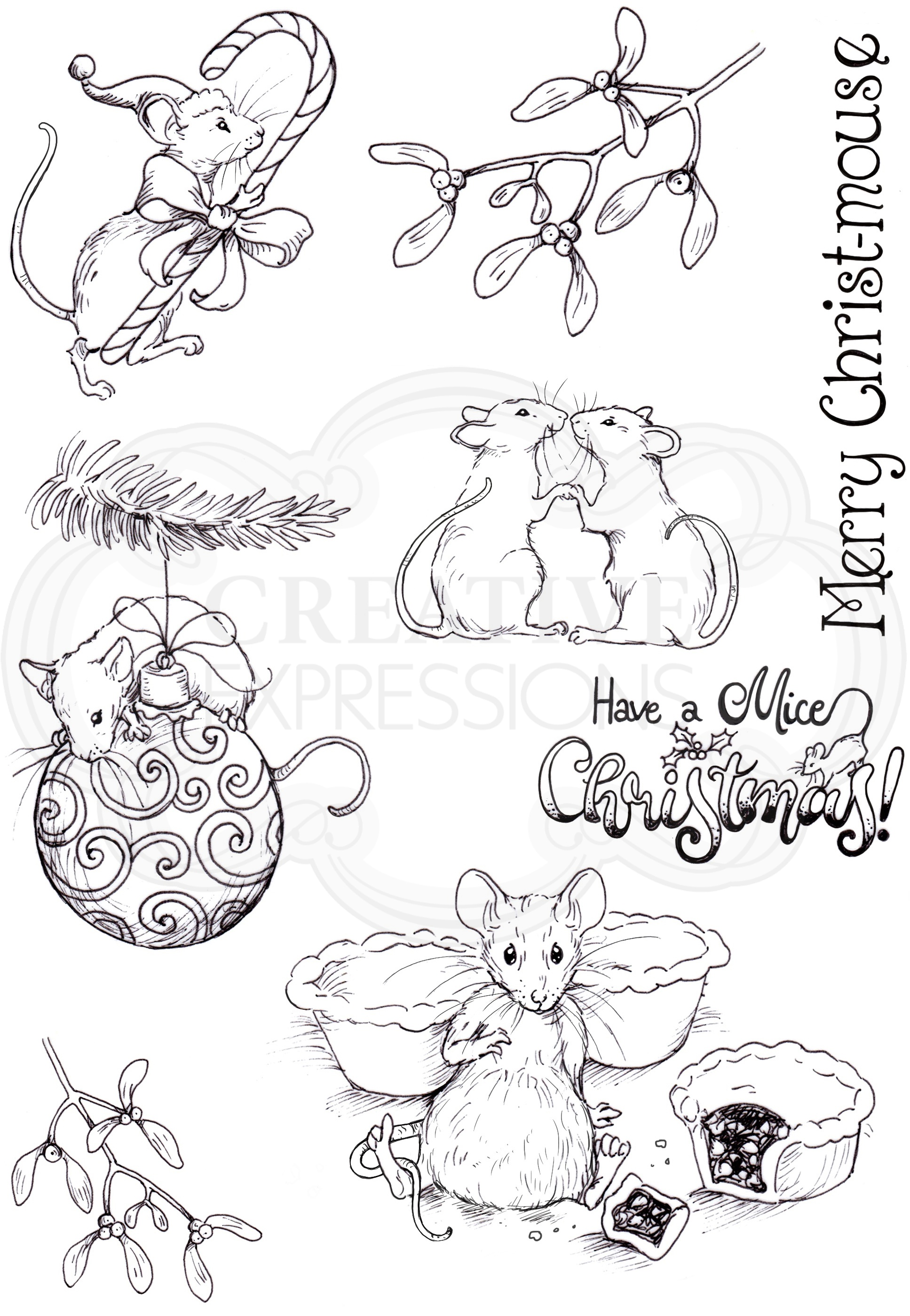 Pink Ink Designs A5 Clear Stamp Set-Merry Christmas Mouse