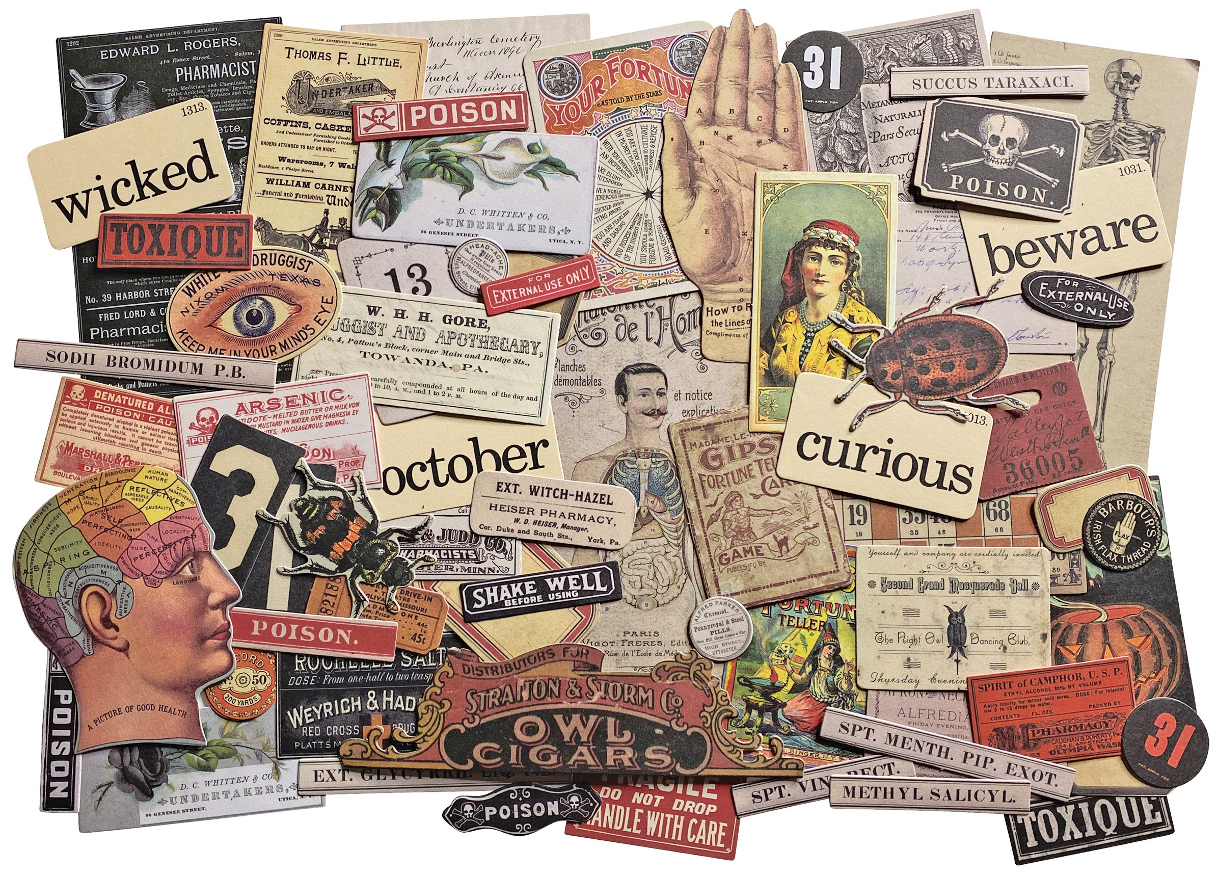 Tim Holtz Idea-Ology Ephemera Pack 68/Pkg-Halloween