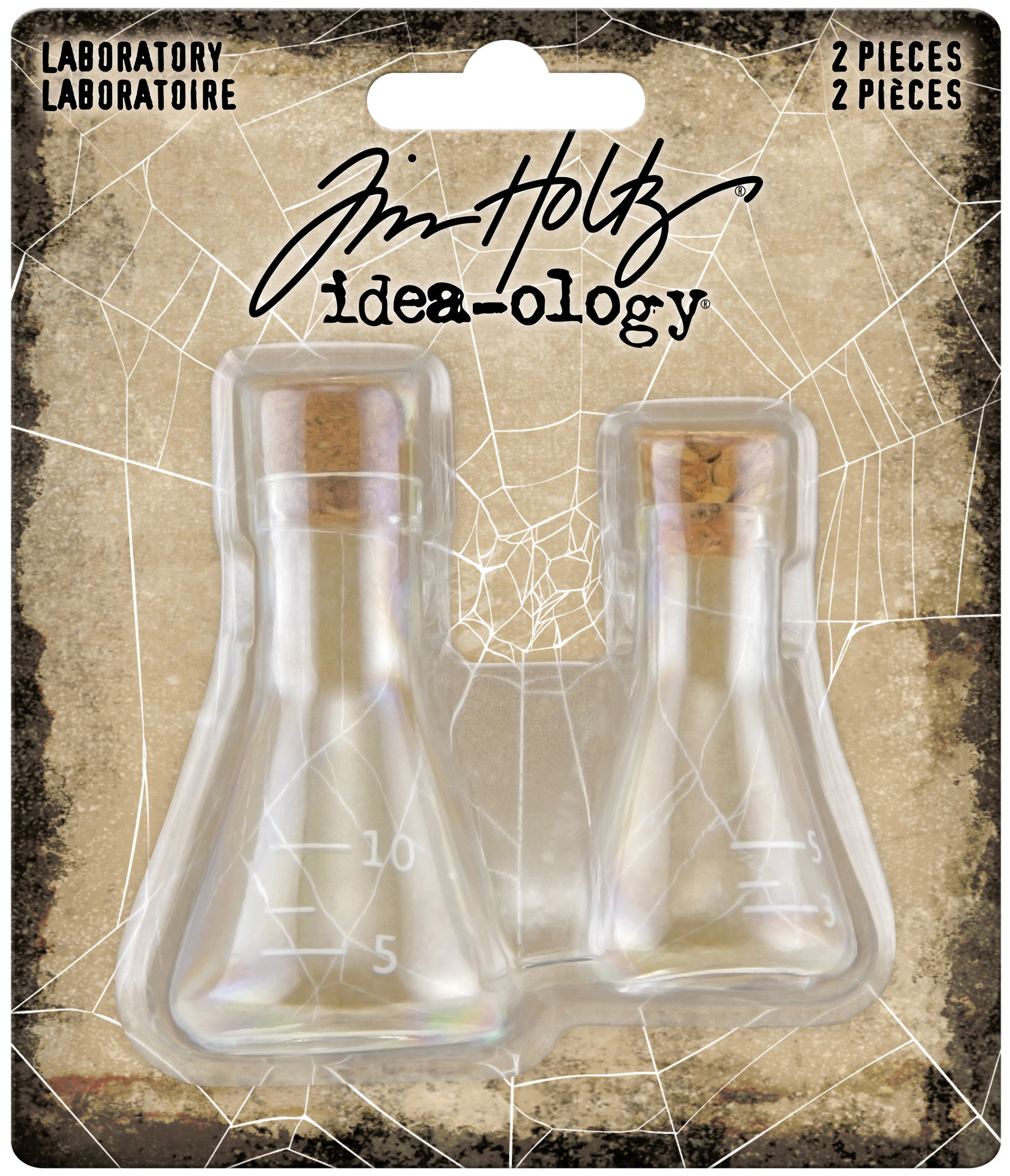 Idea-Ology Small Corked Glass Flasks 2/Pkg-Laboratory 2 To 2.375