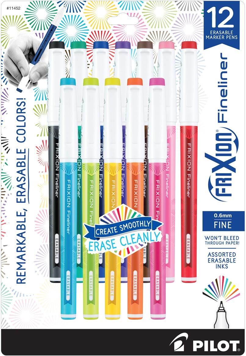 Pilot FriXion Fineliner Fine Pt. Erasable Marker Pen 12/Pkg-Assorted