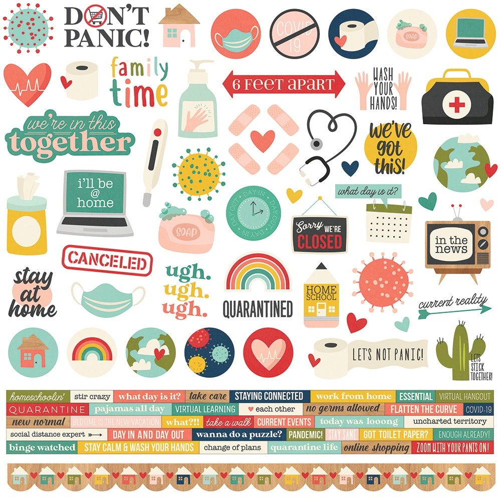 Quarantined Cardstock Stickers 12X12-Combo