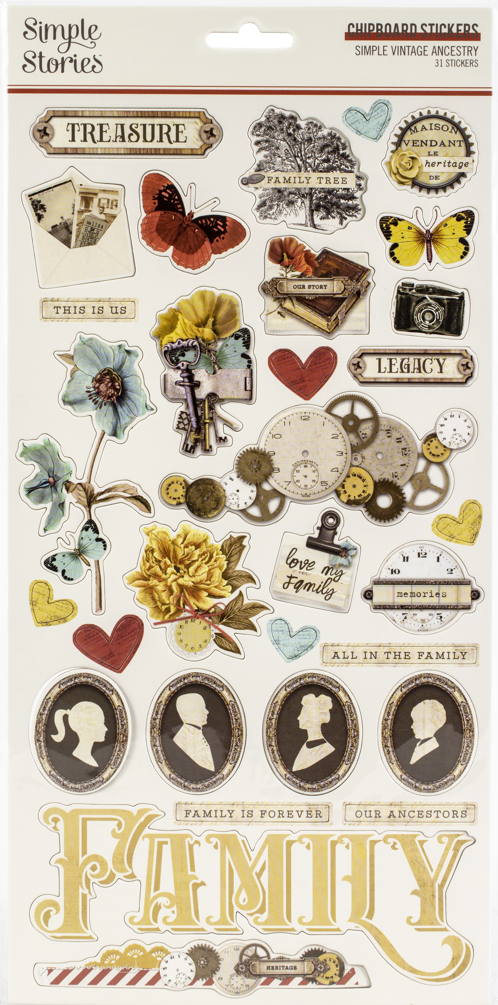 Simple Vintage Ancestry Chipboard Stickers 6X12-