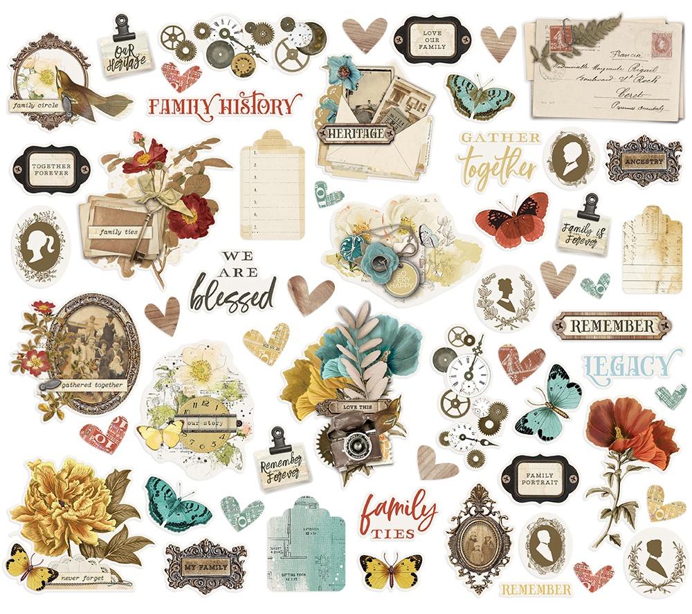 Simple Vintage Ancestry Bits & Pieces Die-Cuts 57/Pkg-