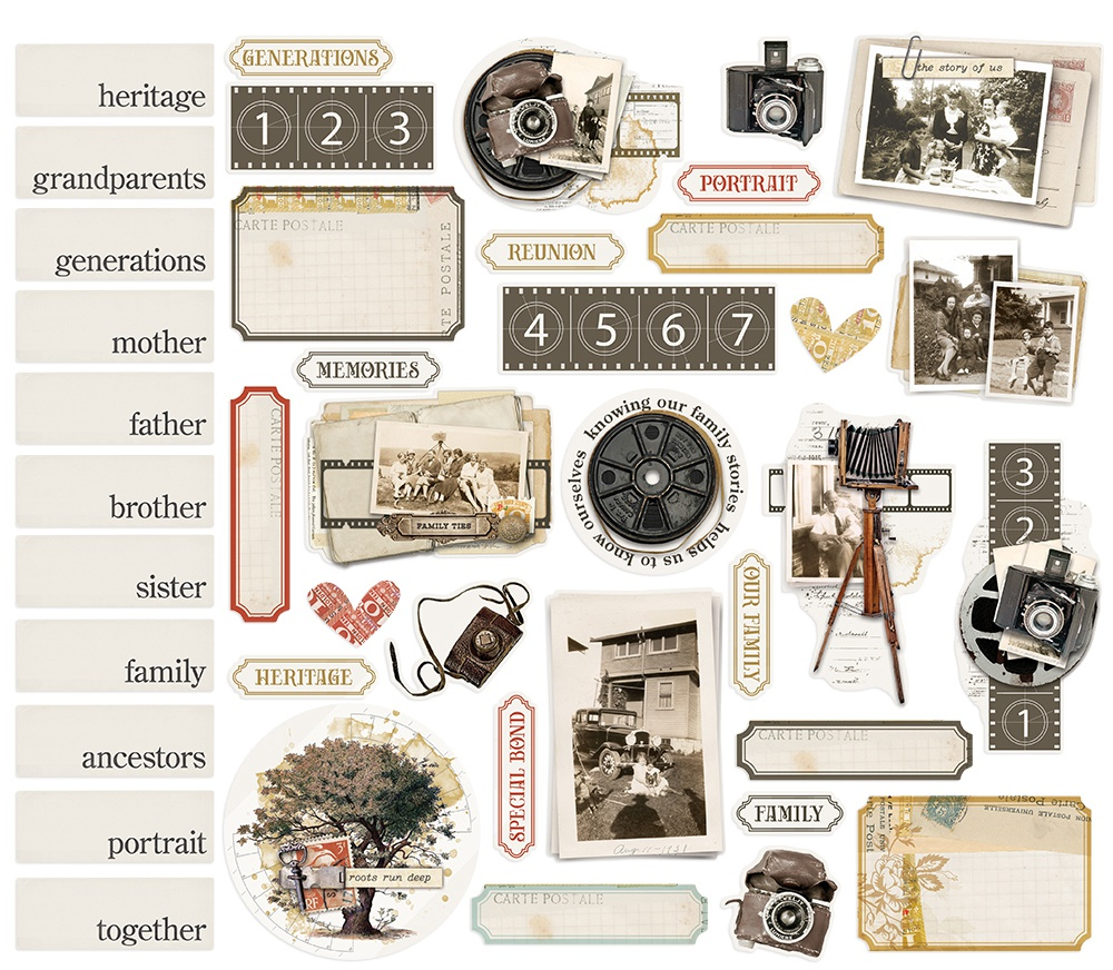 Simple Vintage Ancestry Bits & Pieces Die-Cuts 41/Pkg-Portrait