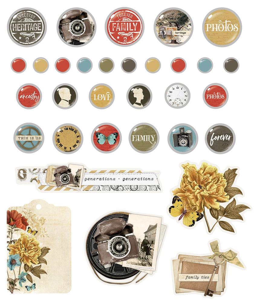 Simple Vintage Ancestry Decorative Brads 32/Pkg-