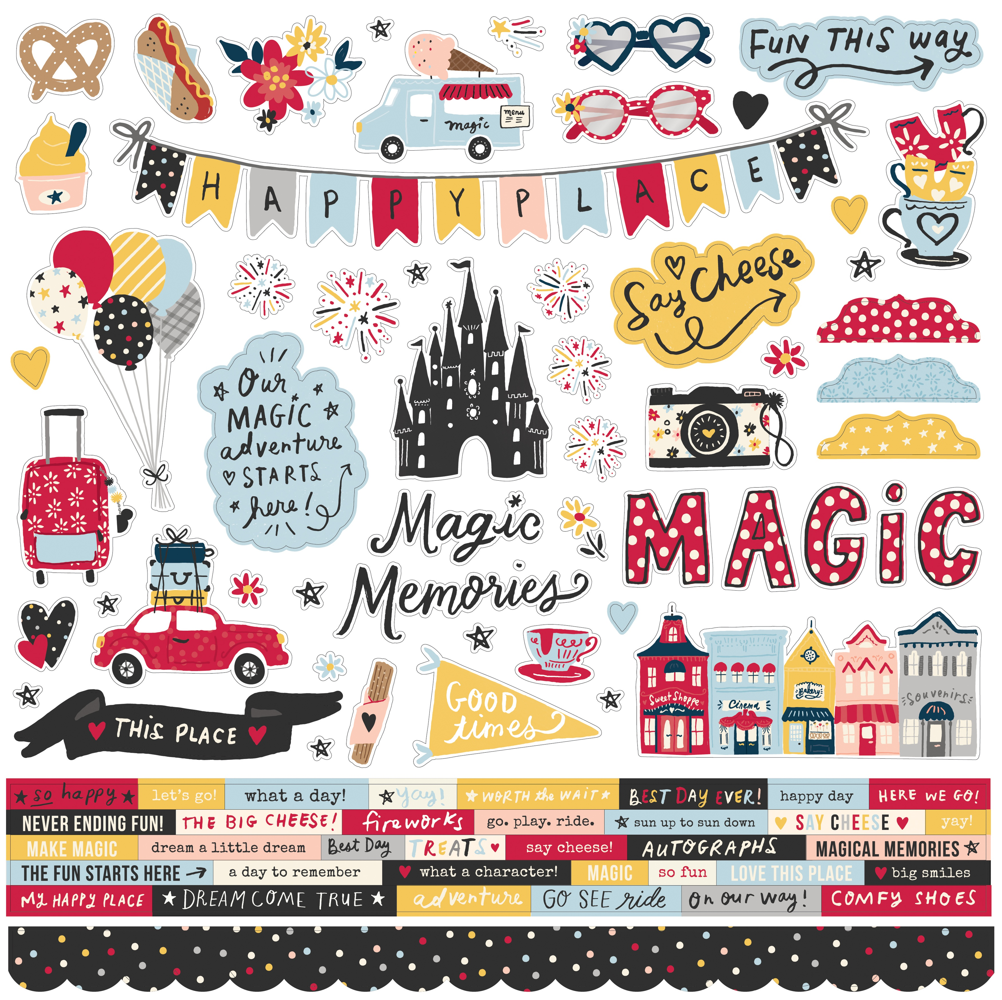 Say Cheese Main Street Cardstock Stickers 12X12-Combo