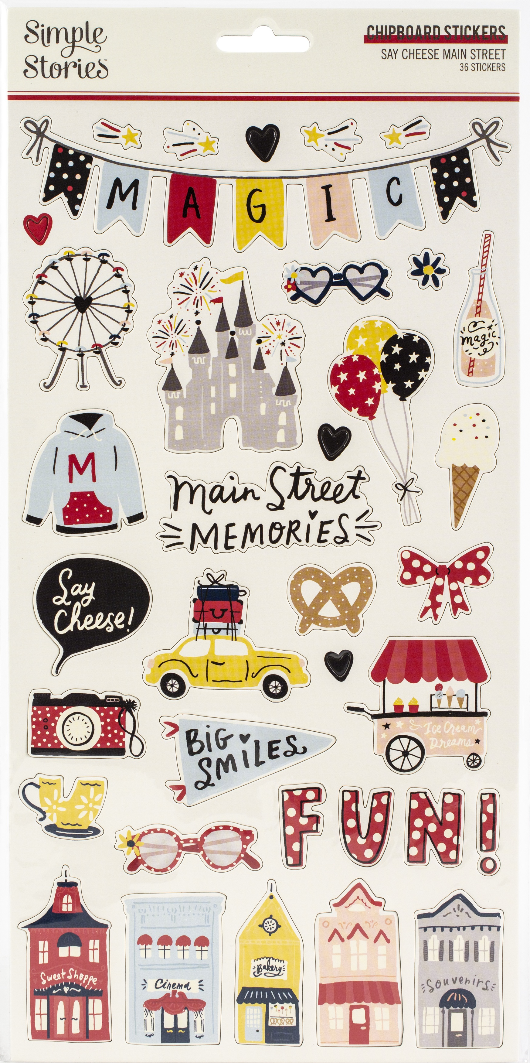 Say Cheese Main Street Chipboard Stickers 6X12-