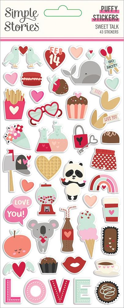 Sweet Talk Puffy Stickers 43/Pkg-