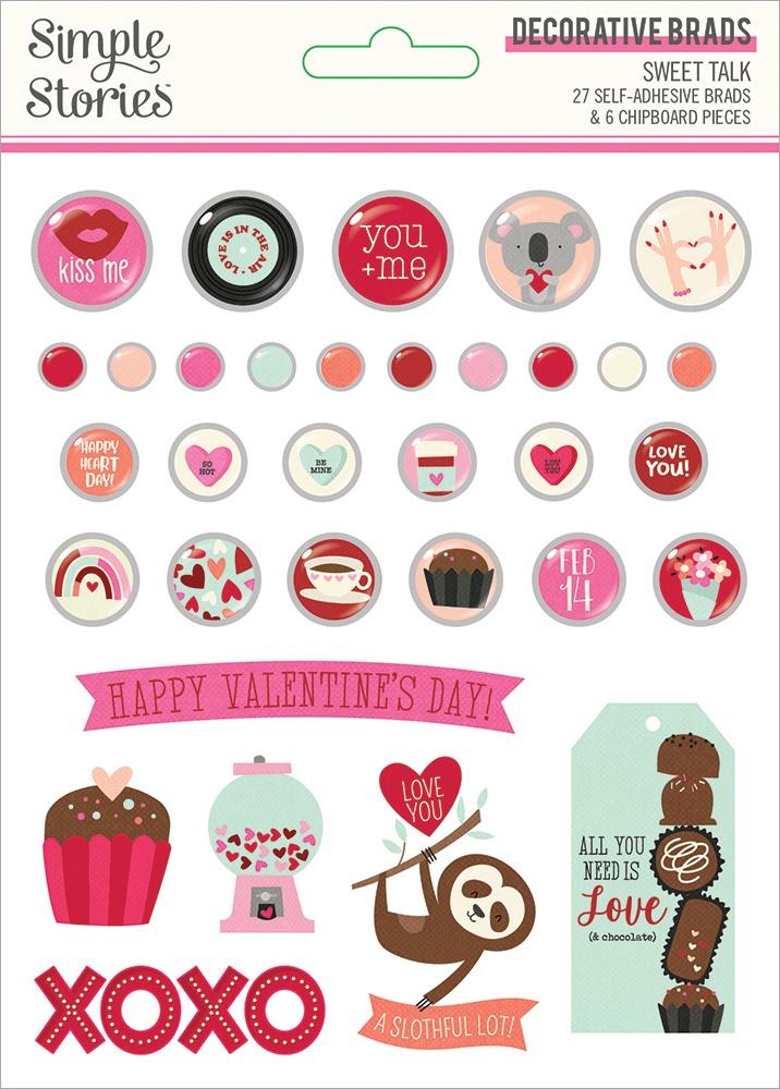 Sweet Talk Decorative Brads 33/Pkg-