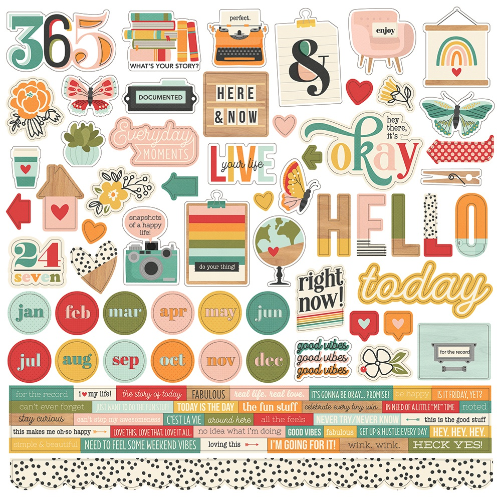 Hello Today Cardstock Stickers 12X12-Combo