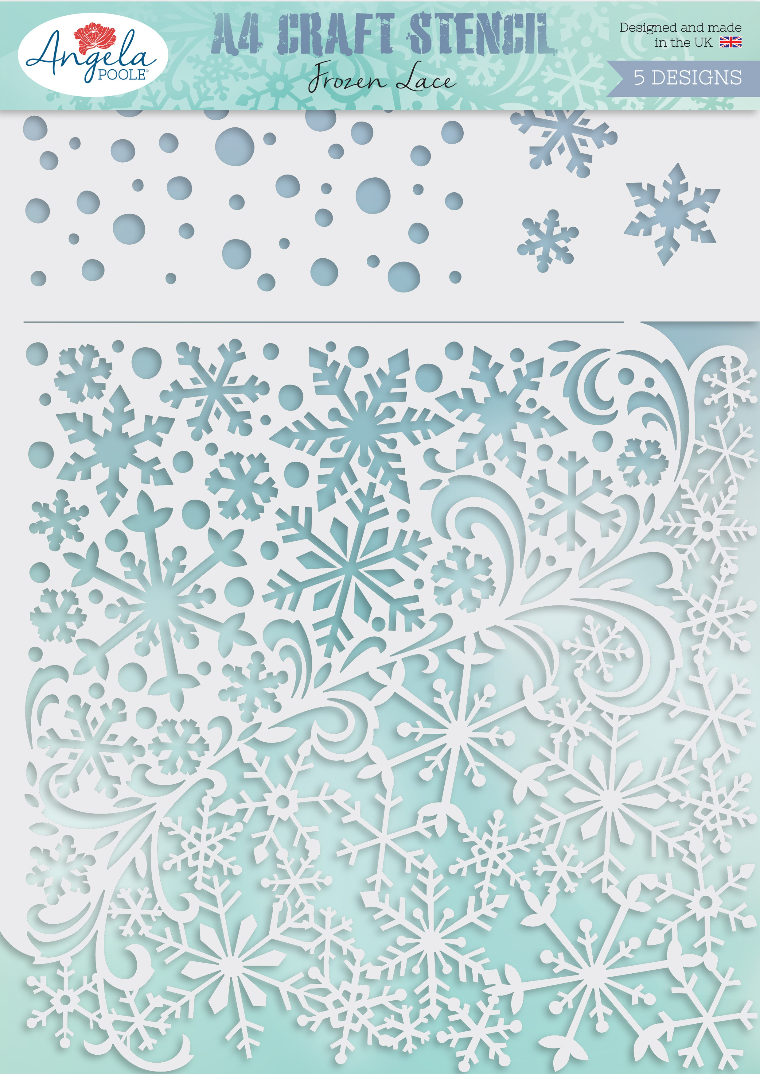 Angela Poole Craft Stencil A4-Frozen Lace