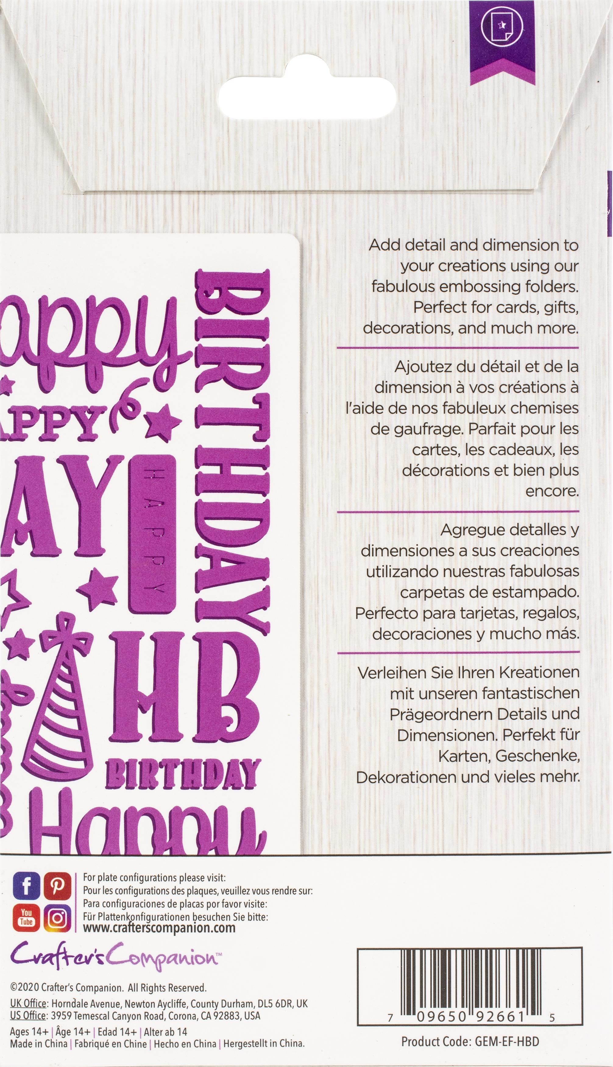 Gemini Embossing Folder 2.75X5.75-Happy Birthday