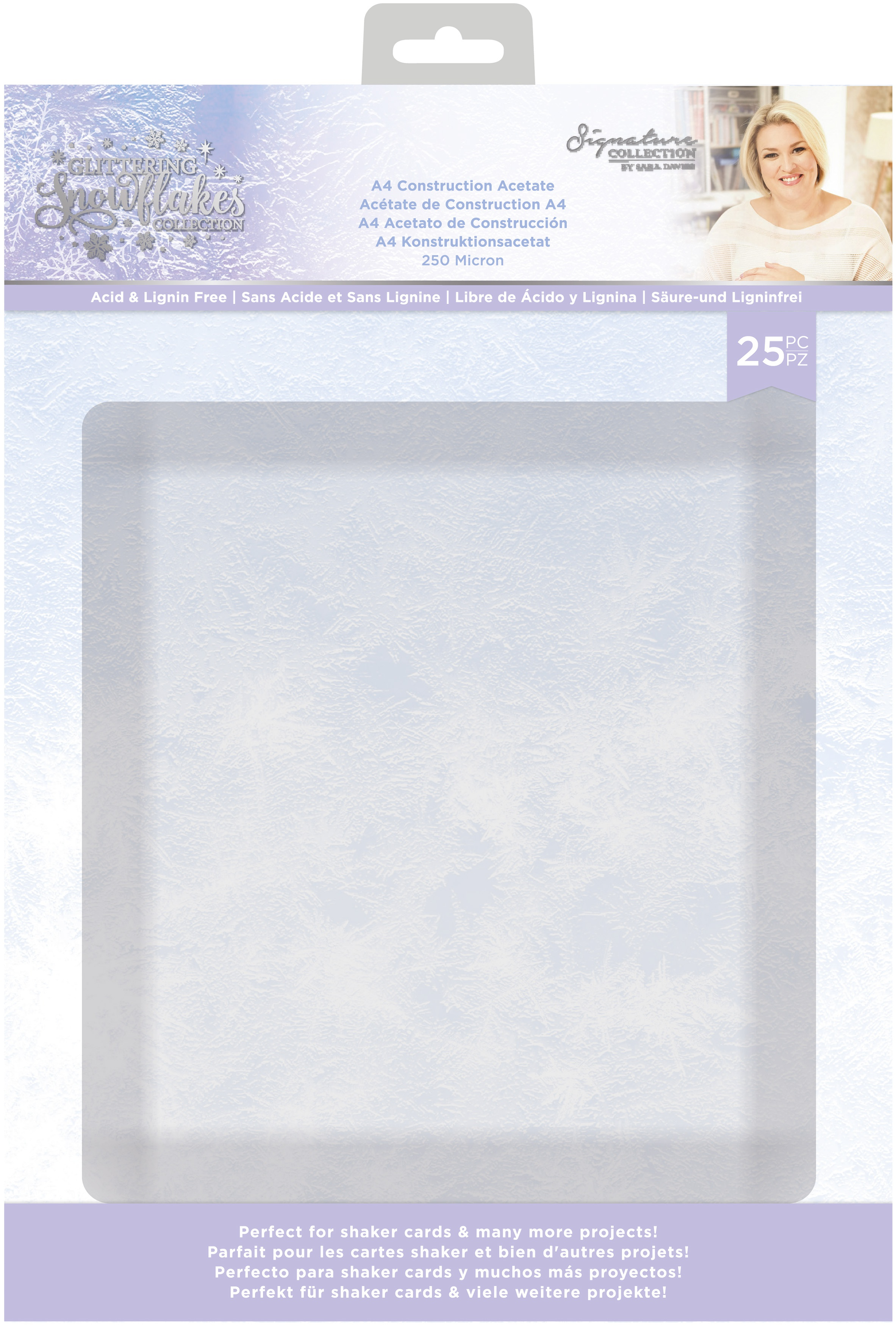 Glittering Snowflakes Construction Acetate Pack A4 25/Pkg-