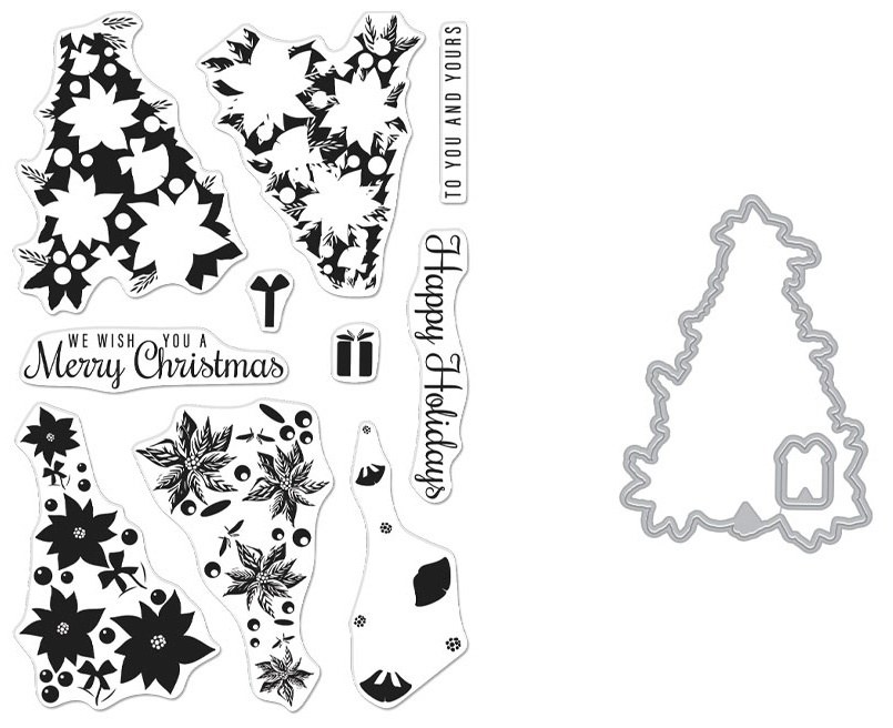 Hero Arts Clear Stamp & Die Combo-Color Layering Poinsettia Christmas Tree