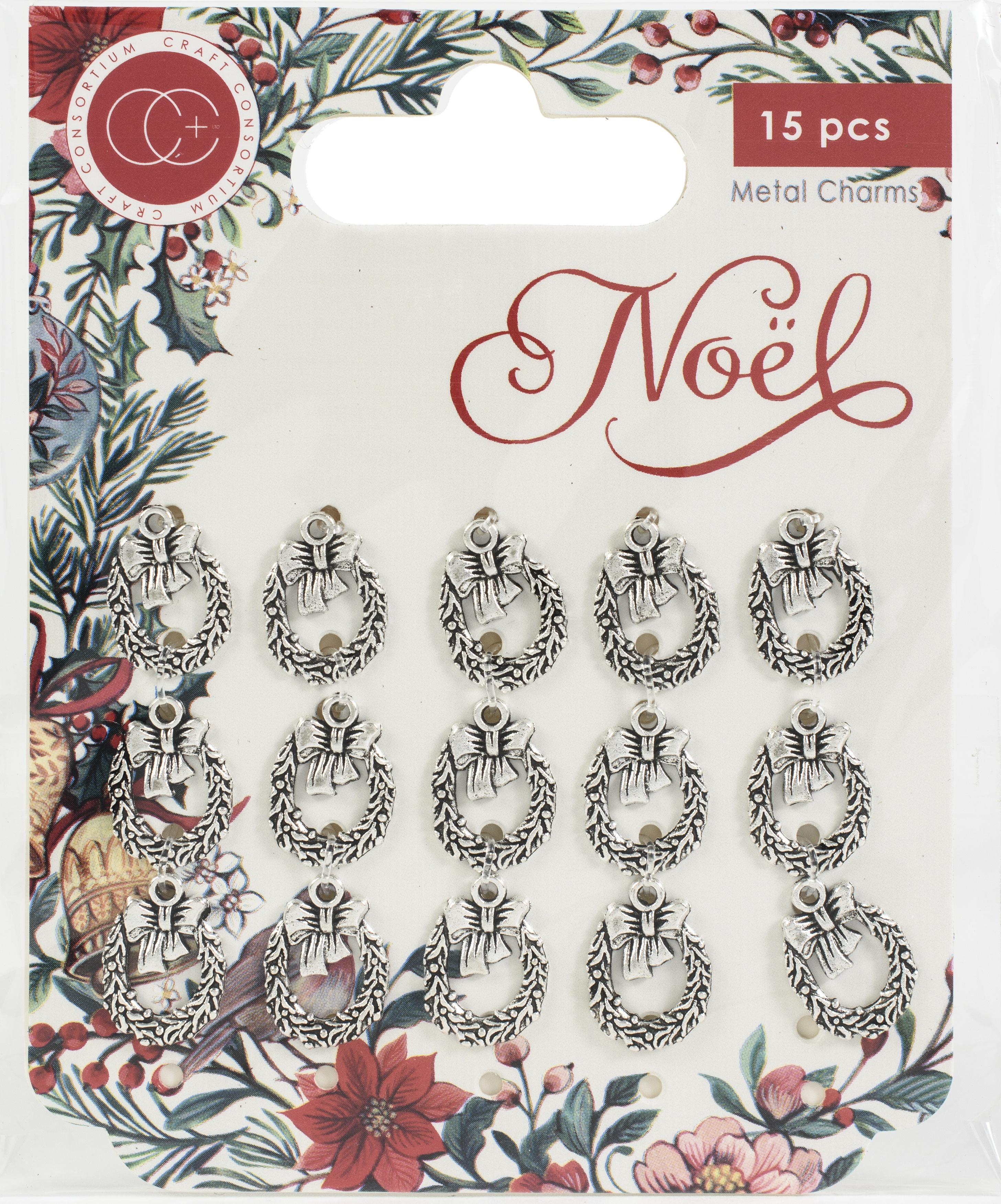 Craft Consortium Noel Metal Charms 15/Pkg-Wreath