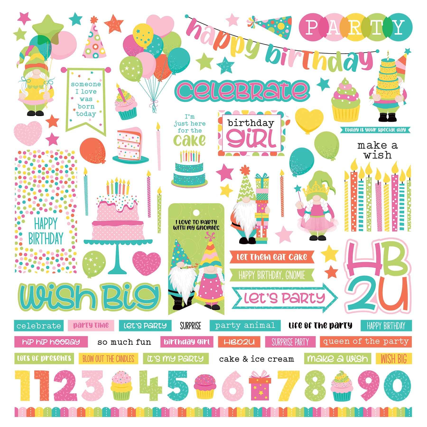 PhotoPlay Tulla's Birthday Party - 12x12 Element Sticker Sheet