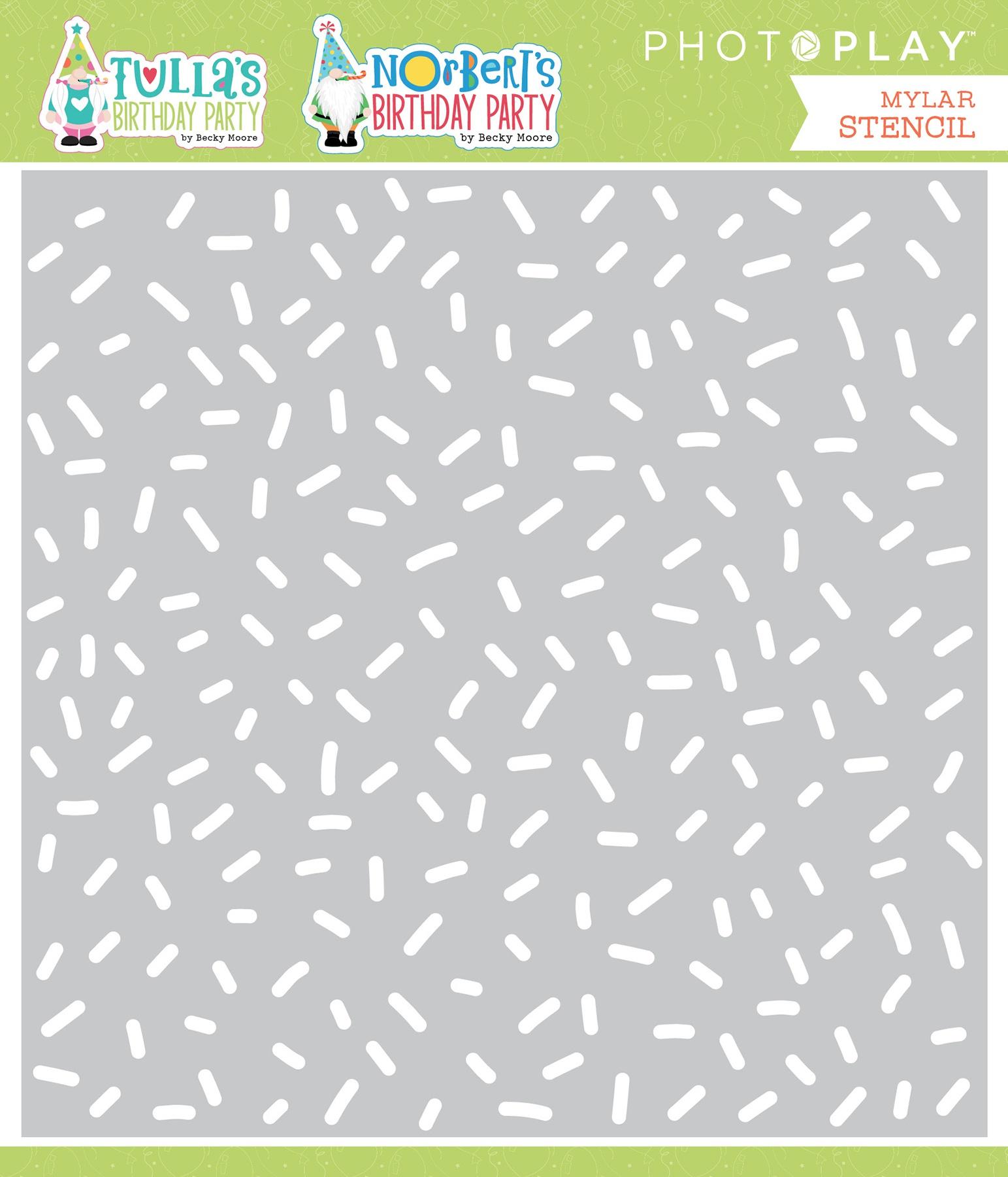 Tulla & Norbert's Birthday Stencil 6X6-Confetti