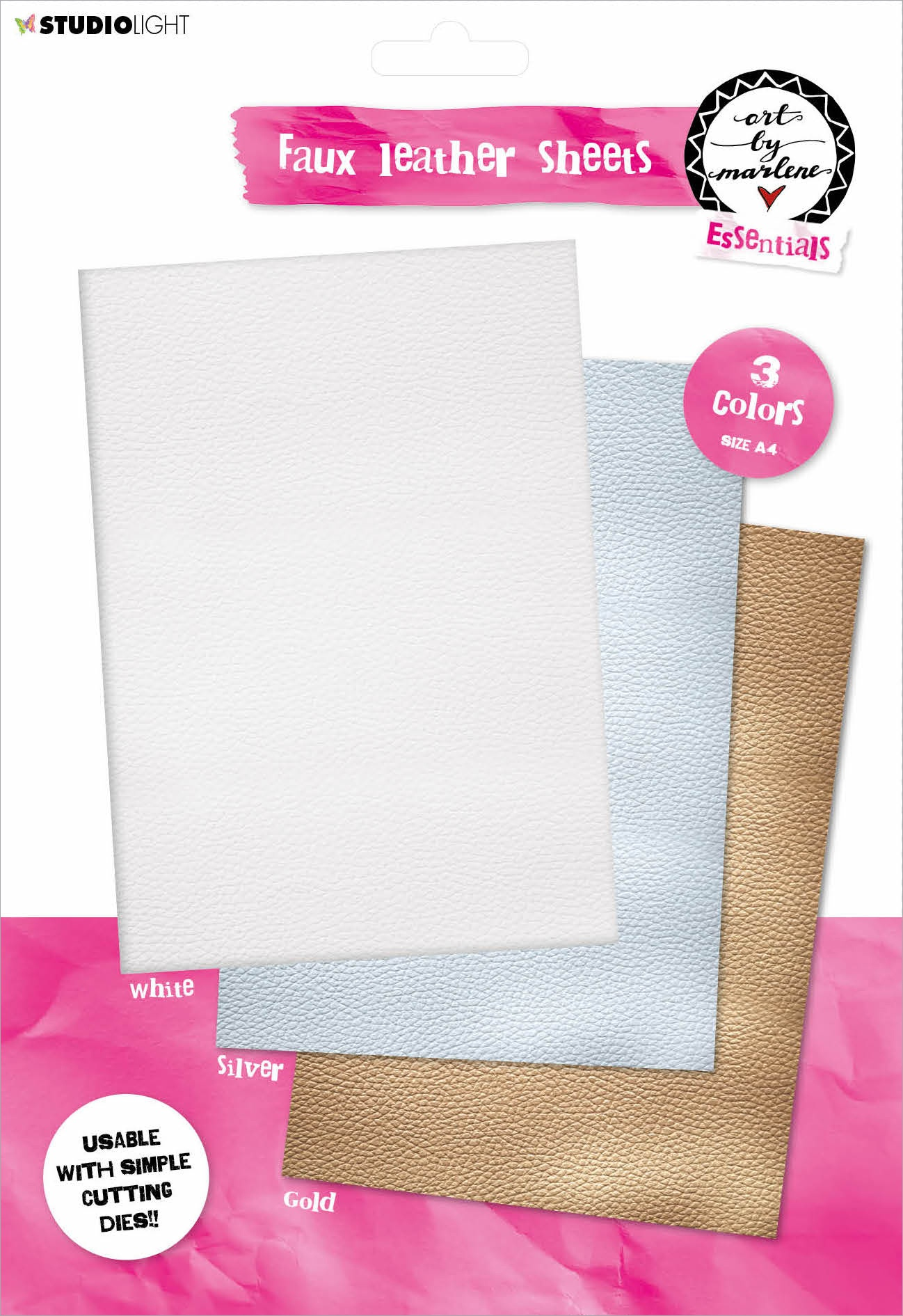 Studio Light Art By Marlene Faux Leather Sheets A4 3/Pkg-White Gold & Silver