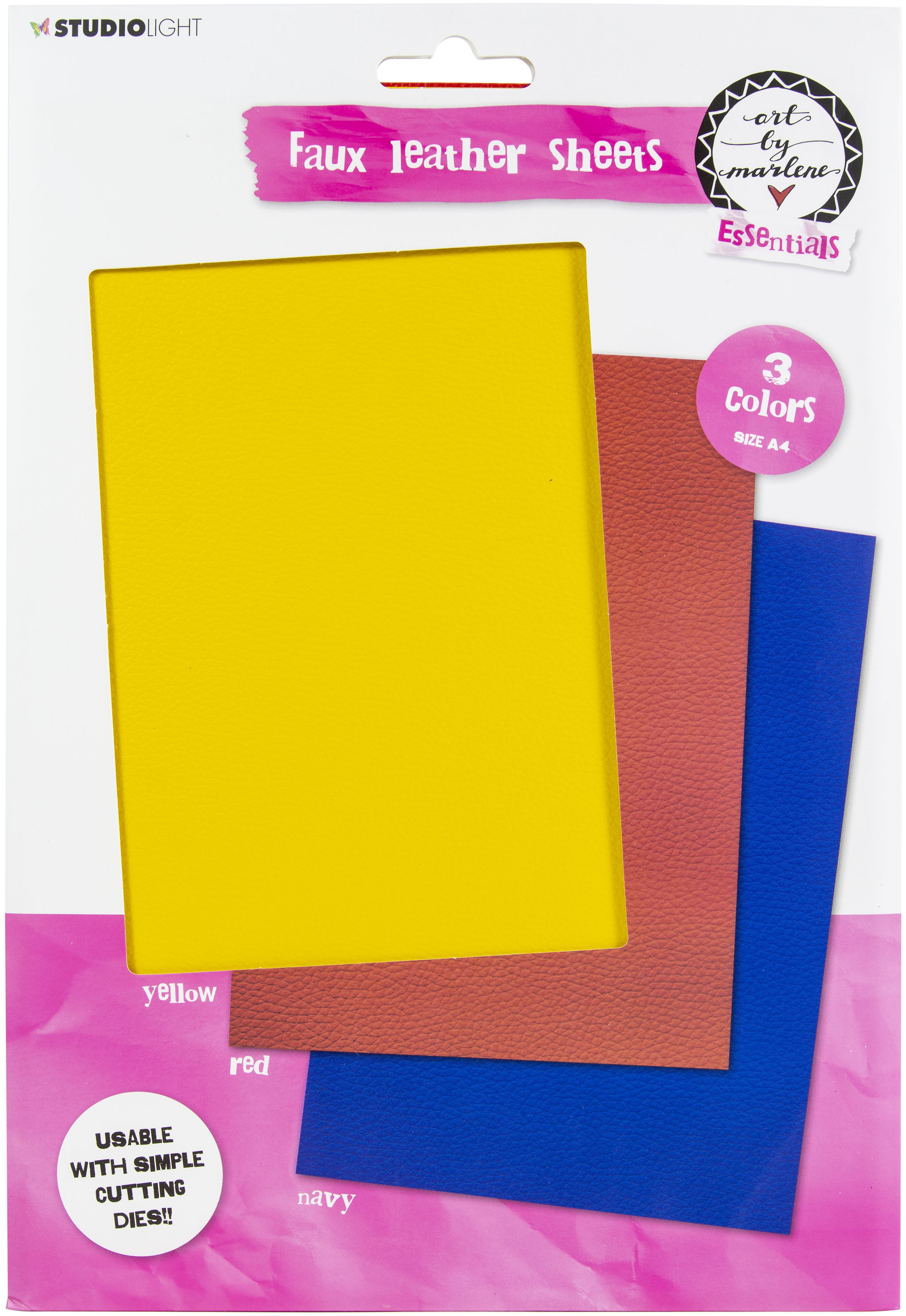 Art By Marlene - Faux Leather Sheets - Yellow, Red & Blue
